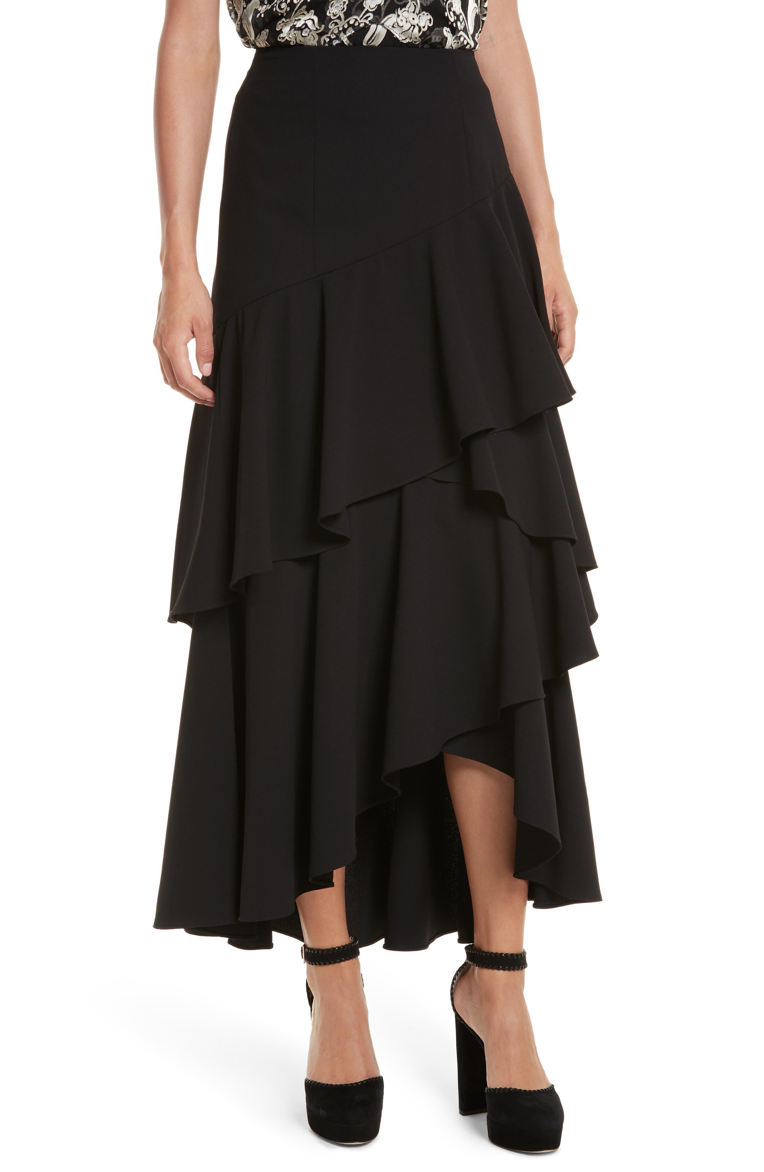 Alice + Olivia Martina High/Low Ruffle Skirt