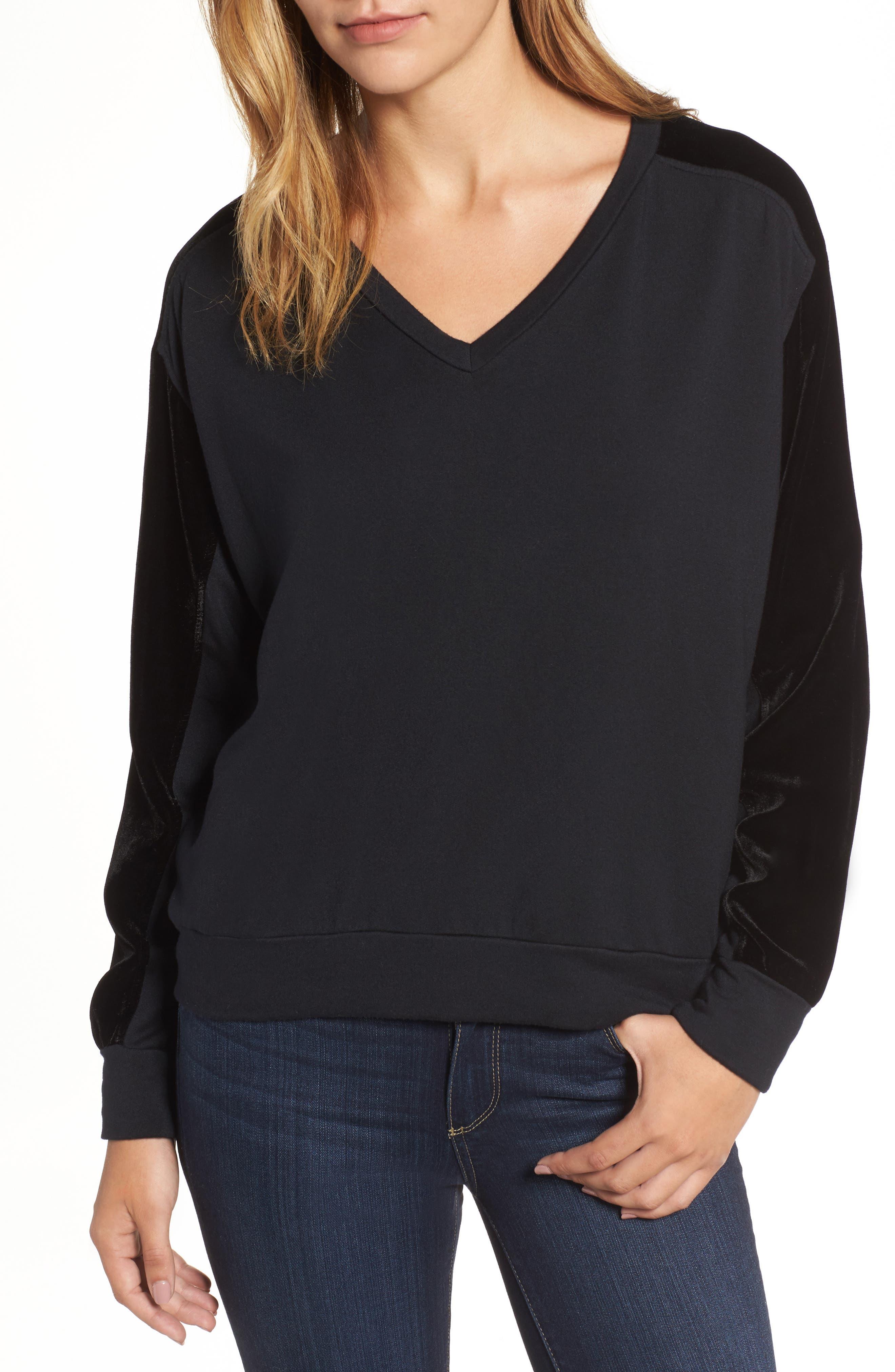 Fleece & Velvet V-Neck Top,                         Main,                         color, Black