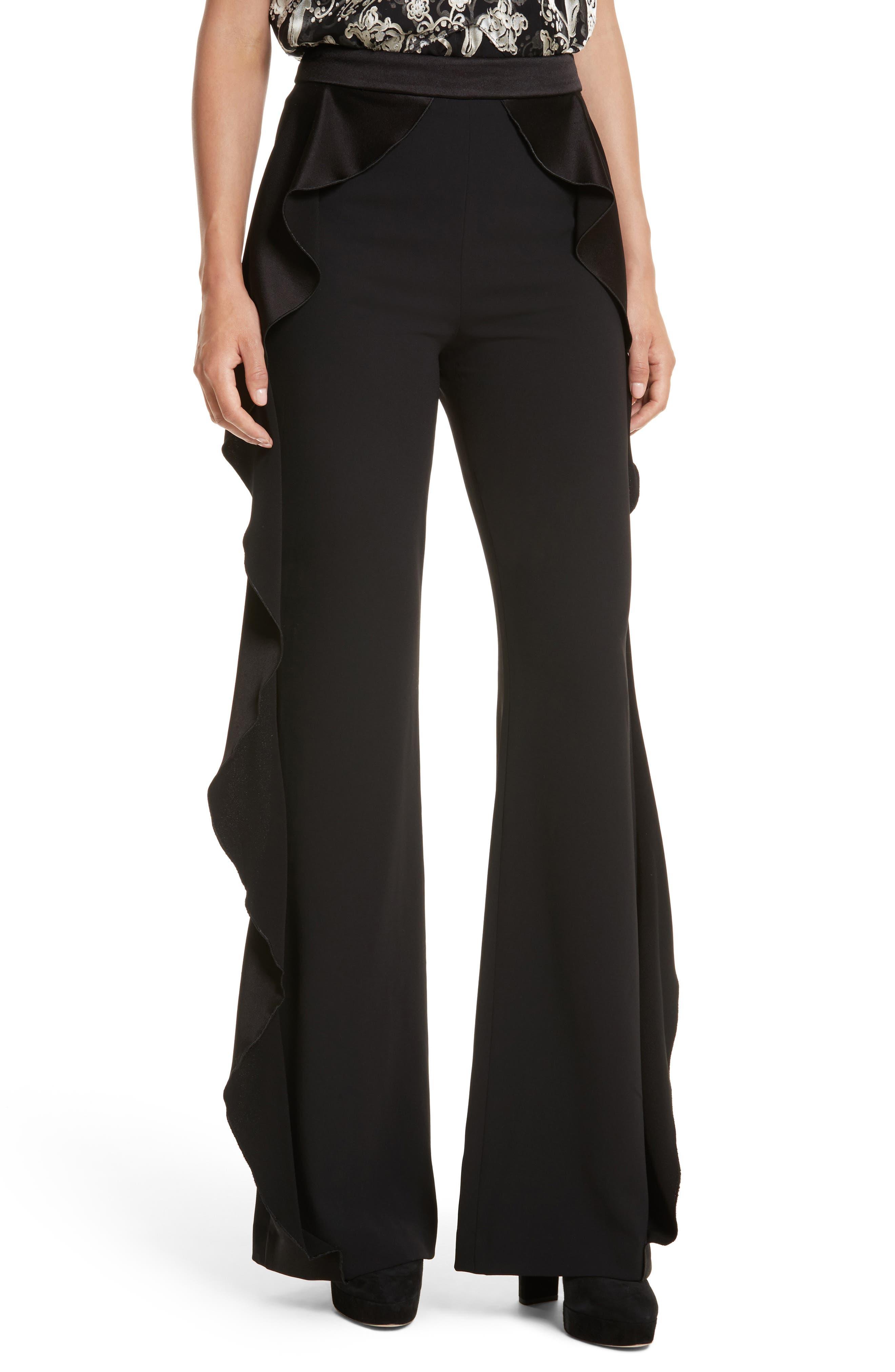 Alternate Image 1 Selected - Alice + Olivia Wallace Side Ruffle High Waist Pants