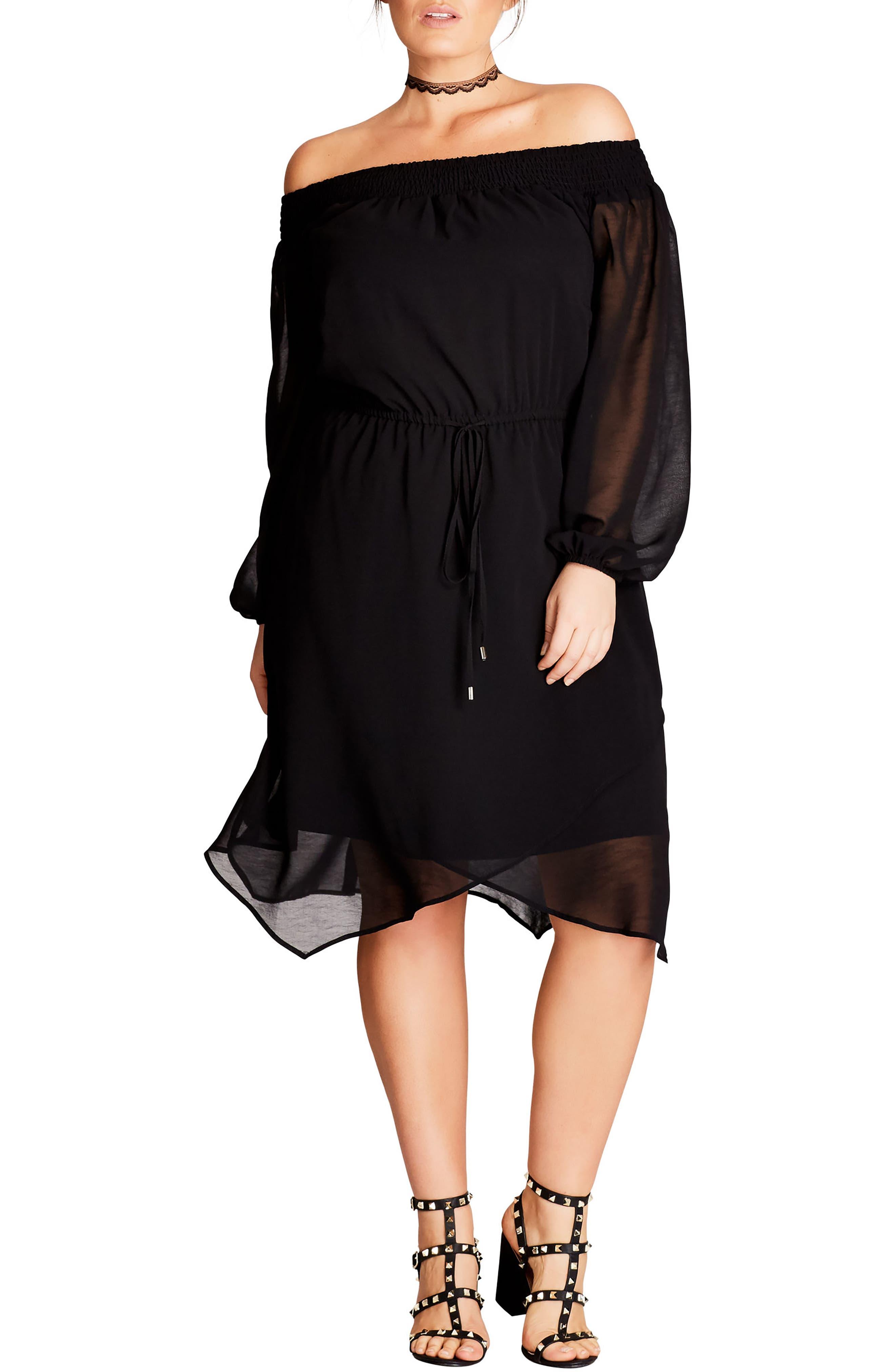 Soft Divine Off the Shoulder Dress,                         Main,                         color, Black