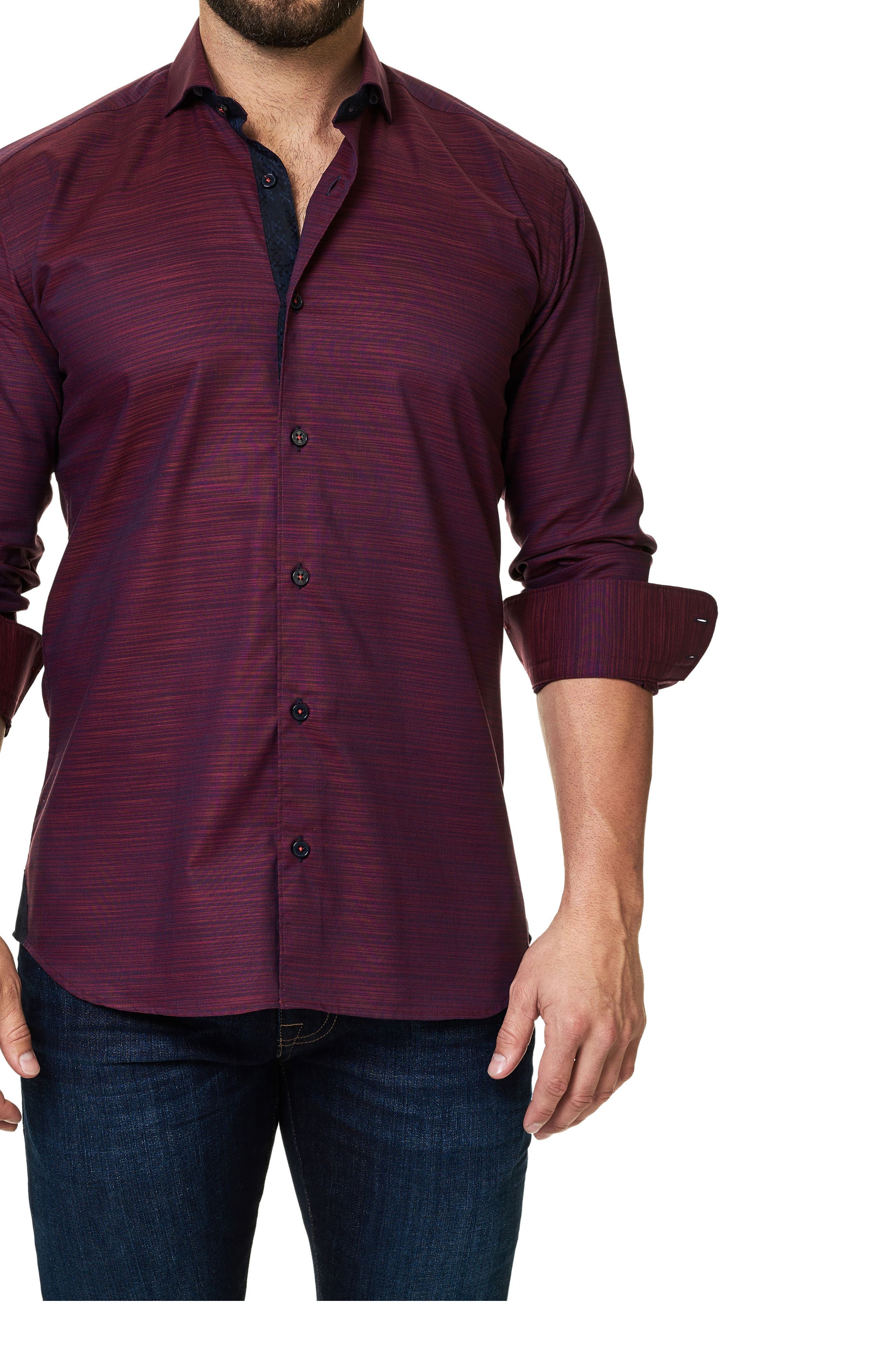 Trim Fit Print Sport Shirt,                         Main,                         color, Red