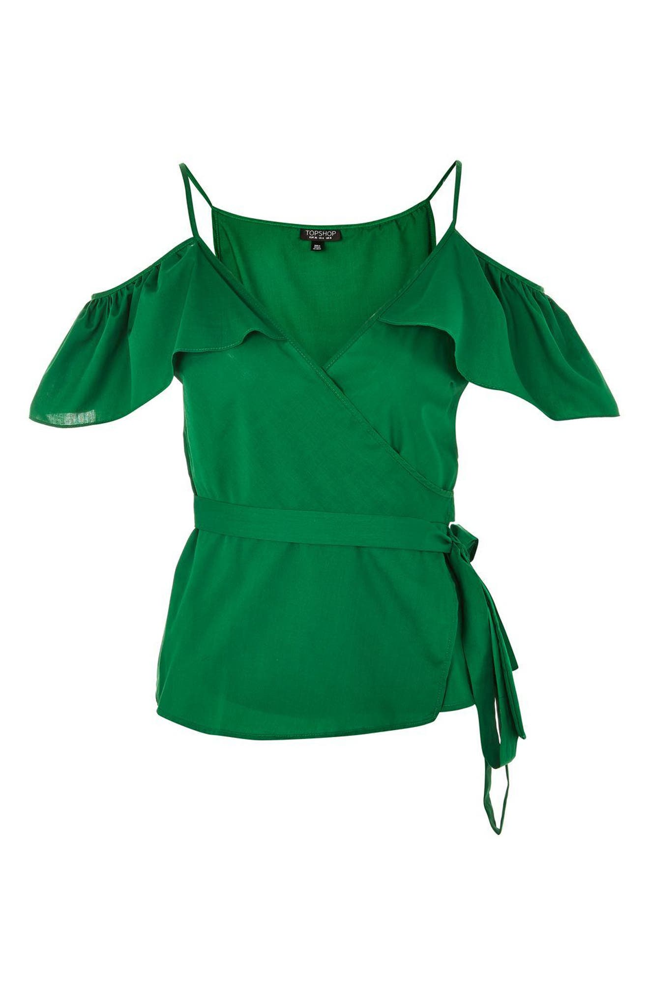 Ruffle Cold Shoulder Wrap Top,                             Alternate thumbnail 4, color,                             Green