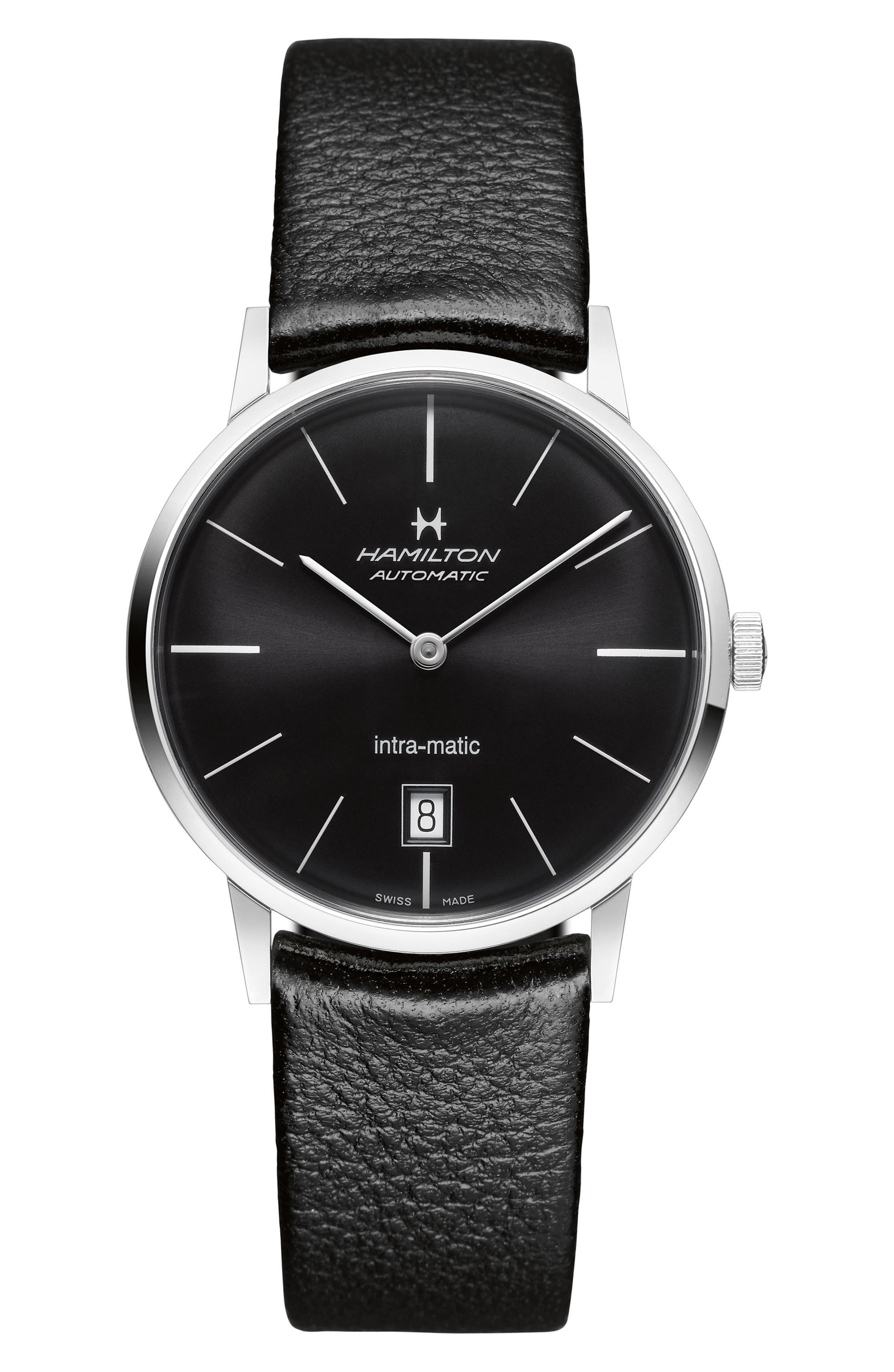 American Classic Intra-Matic Automatic Leather Strap Watch, 38mm,                         Main,                         color, Black/ Silver