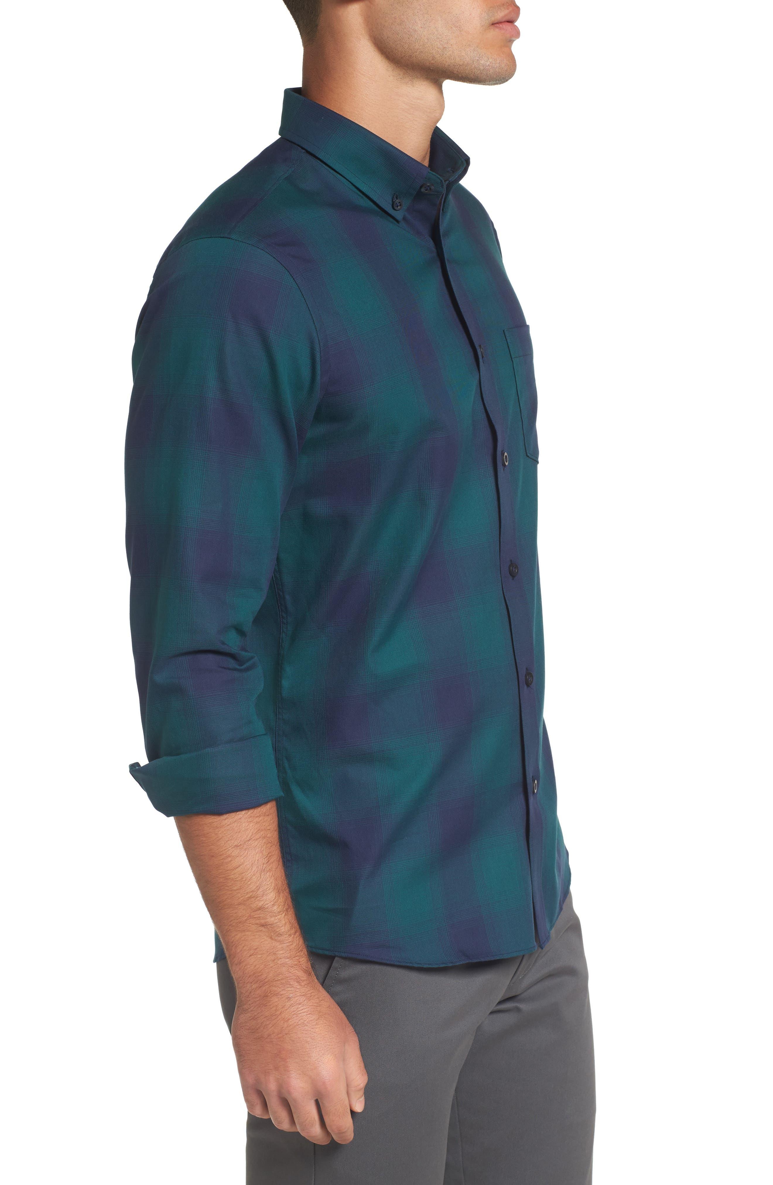 Slim Fit Check Sport Shirt,                             Alternate thumbnail 3, color,                             Green Bug Ombre Plaid