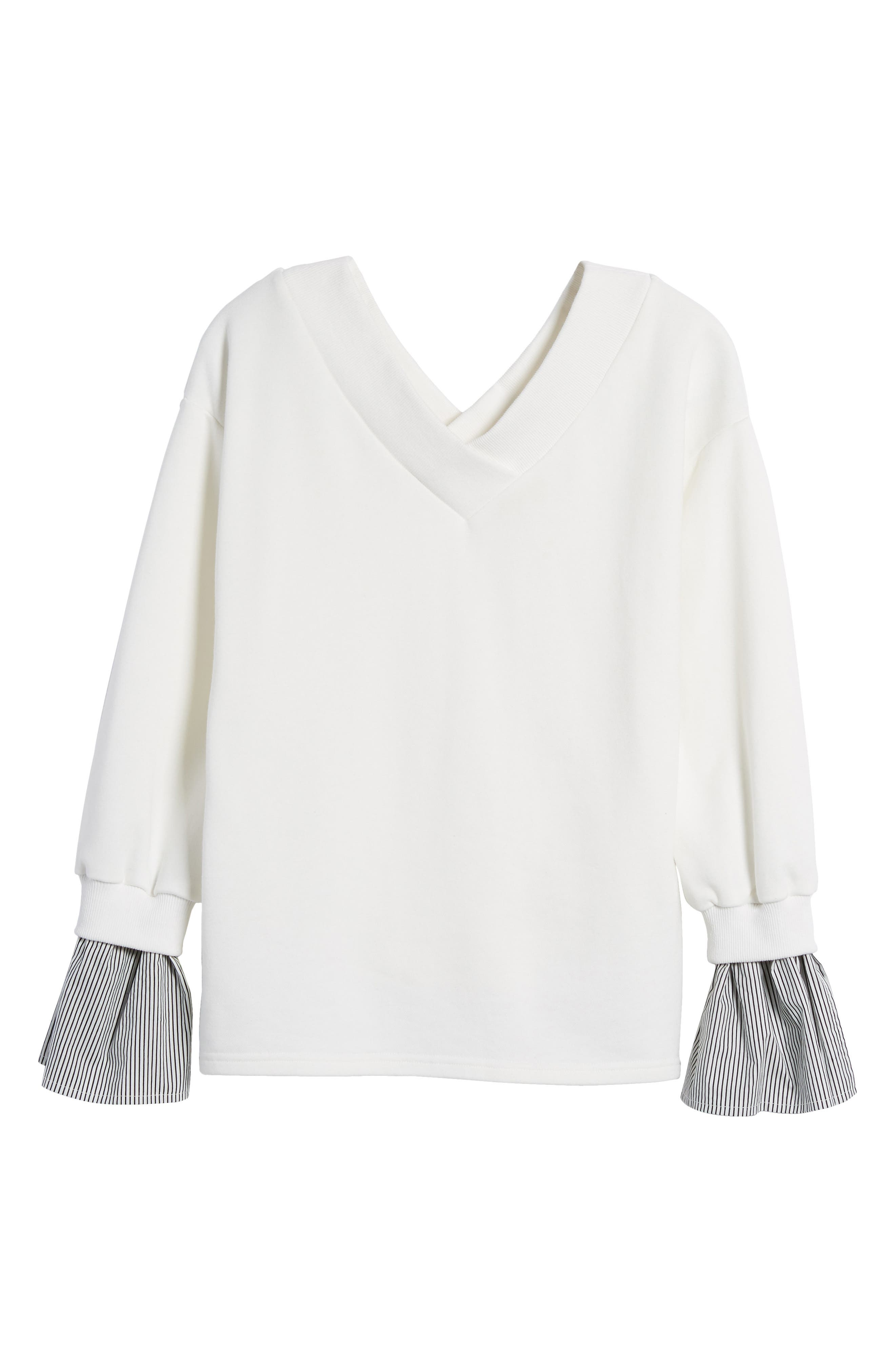 Ruffle Cuff Sweatshirt,                             Alternate thumbnail 6, color,                             White