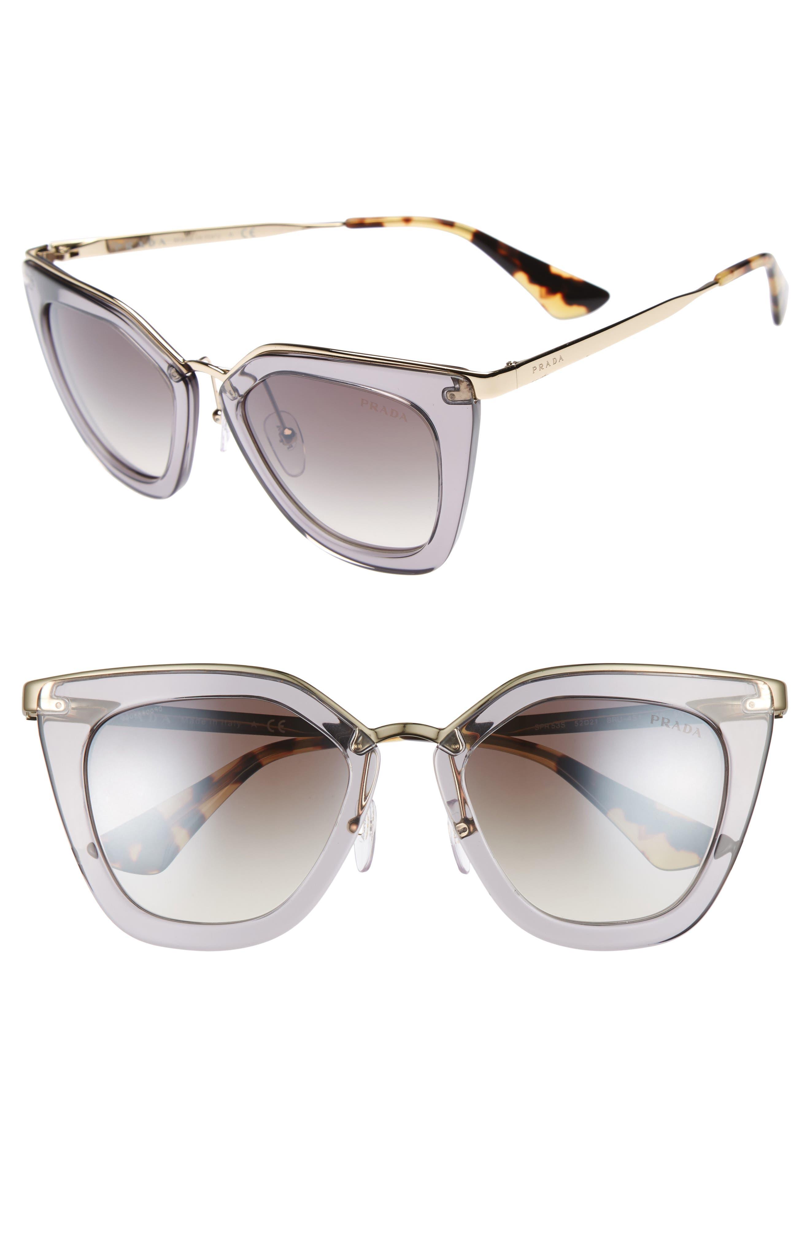 52mm Gradient Cat Eye Sunglasses,                             Main thumbnail 1, color,                             Transparent Grey