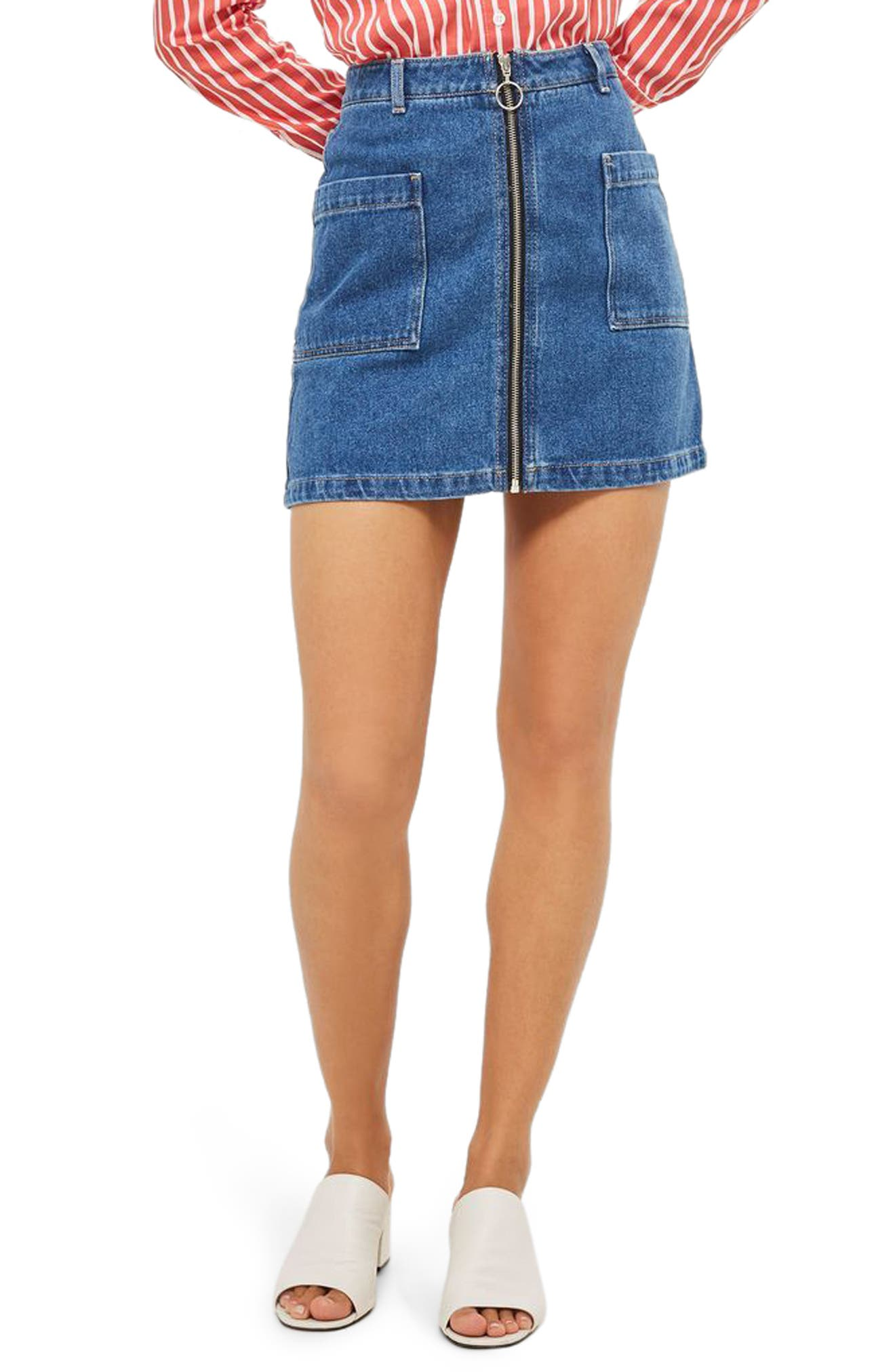 Patch Pocket A-Line Denim Miniskirt,                             Main thumbnail 1, color,                             Mid Denim