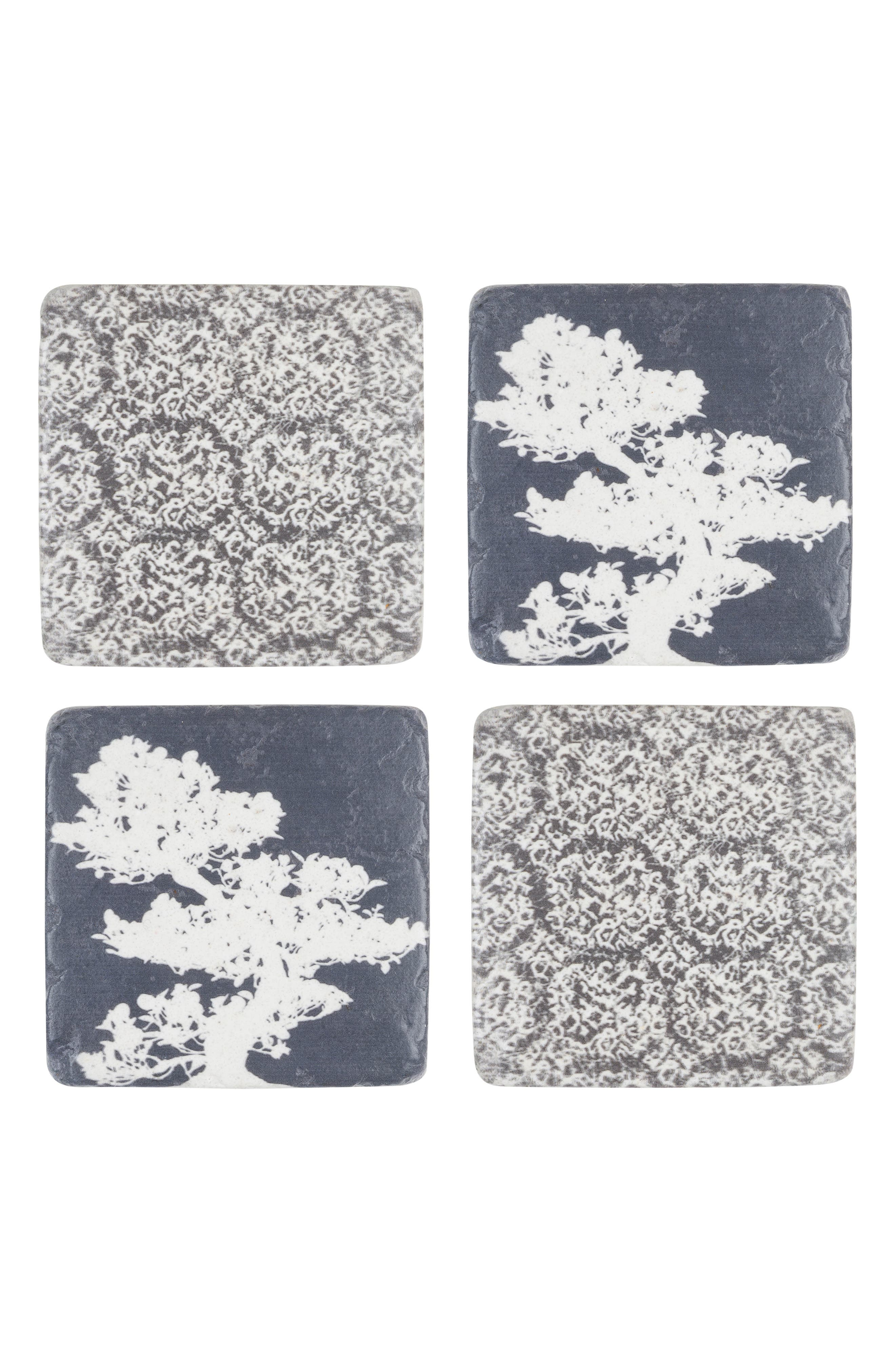 Bonsai Set of 4 Resin Coasters,                             Main thumbnail 1, color,                             Blue/ White/ Grey