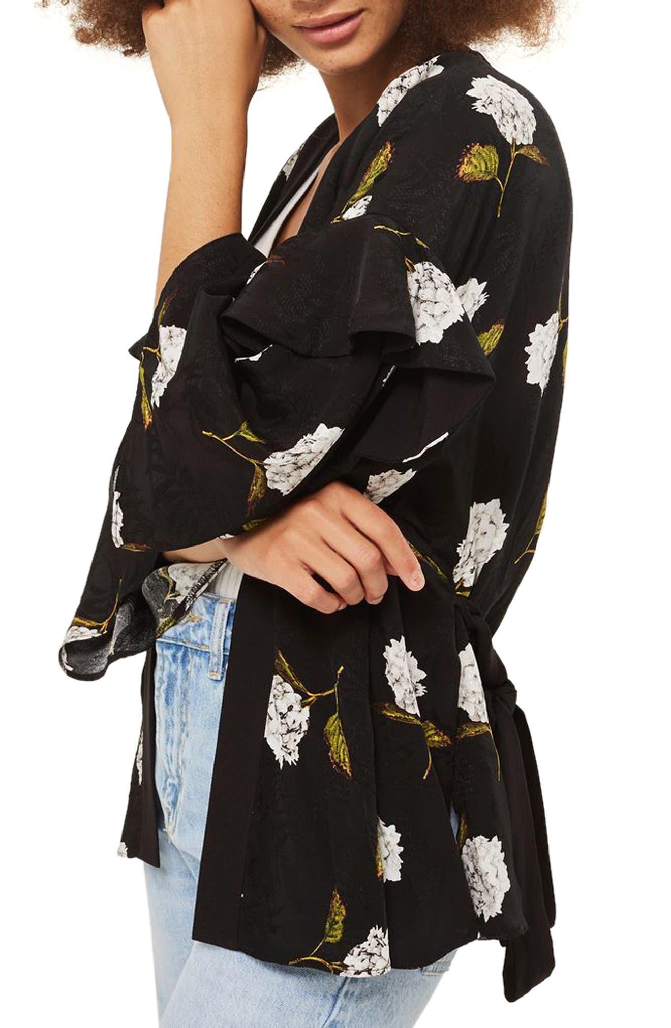 Floral Ruffle Sleeve Kimono,                             Alternate thumbnail 3, color,                             Black Multi