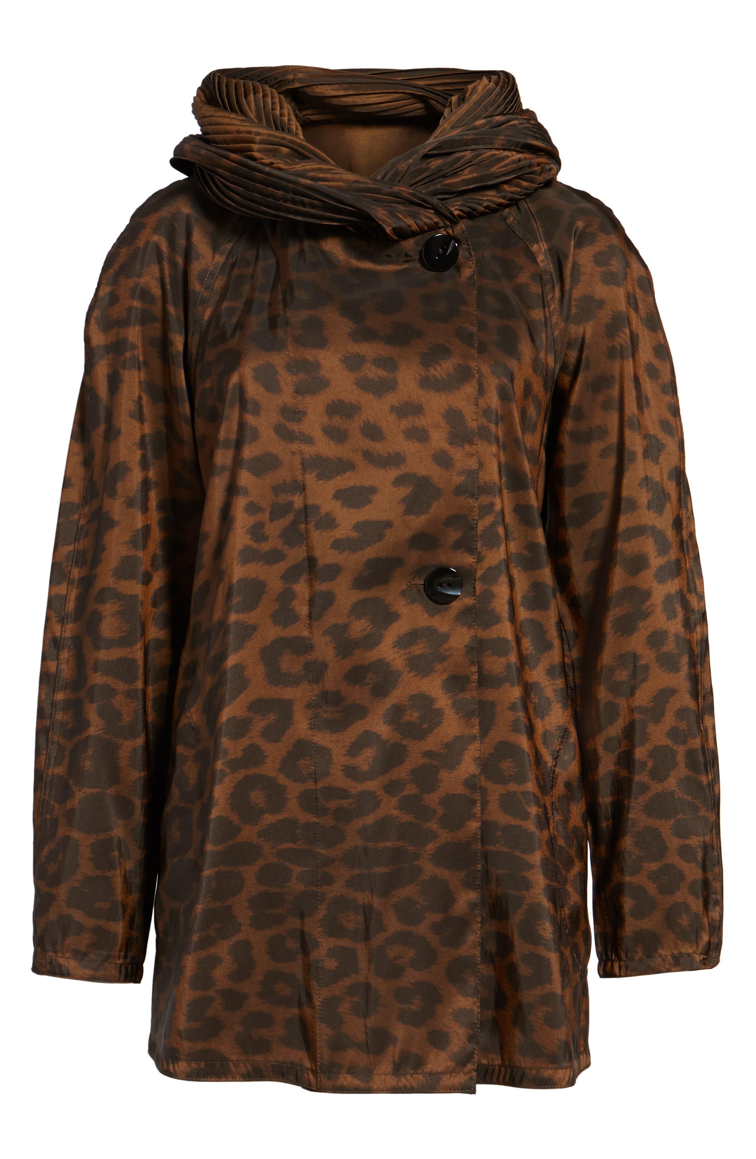 Alternate Image 6  - Mycra Pac Designer Wear 'Mini Donatella Leopard' Reversible Pleat Hood Packable Travel Coat