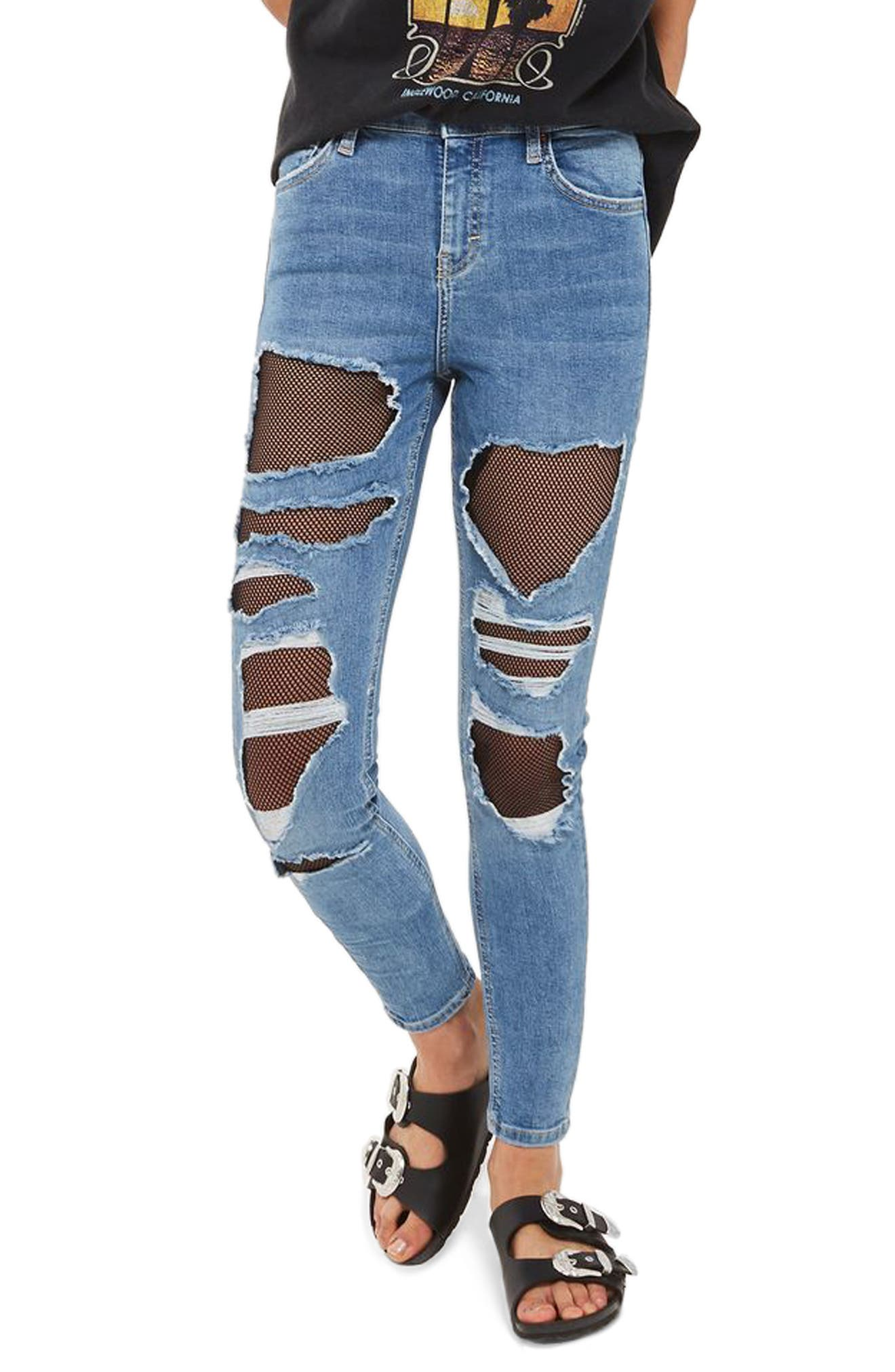 Jamie Fishnet Rip Skinny Jeans,                             Main thumbnail 1, color,                             Mid Denim
