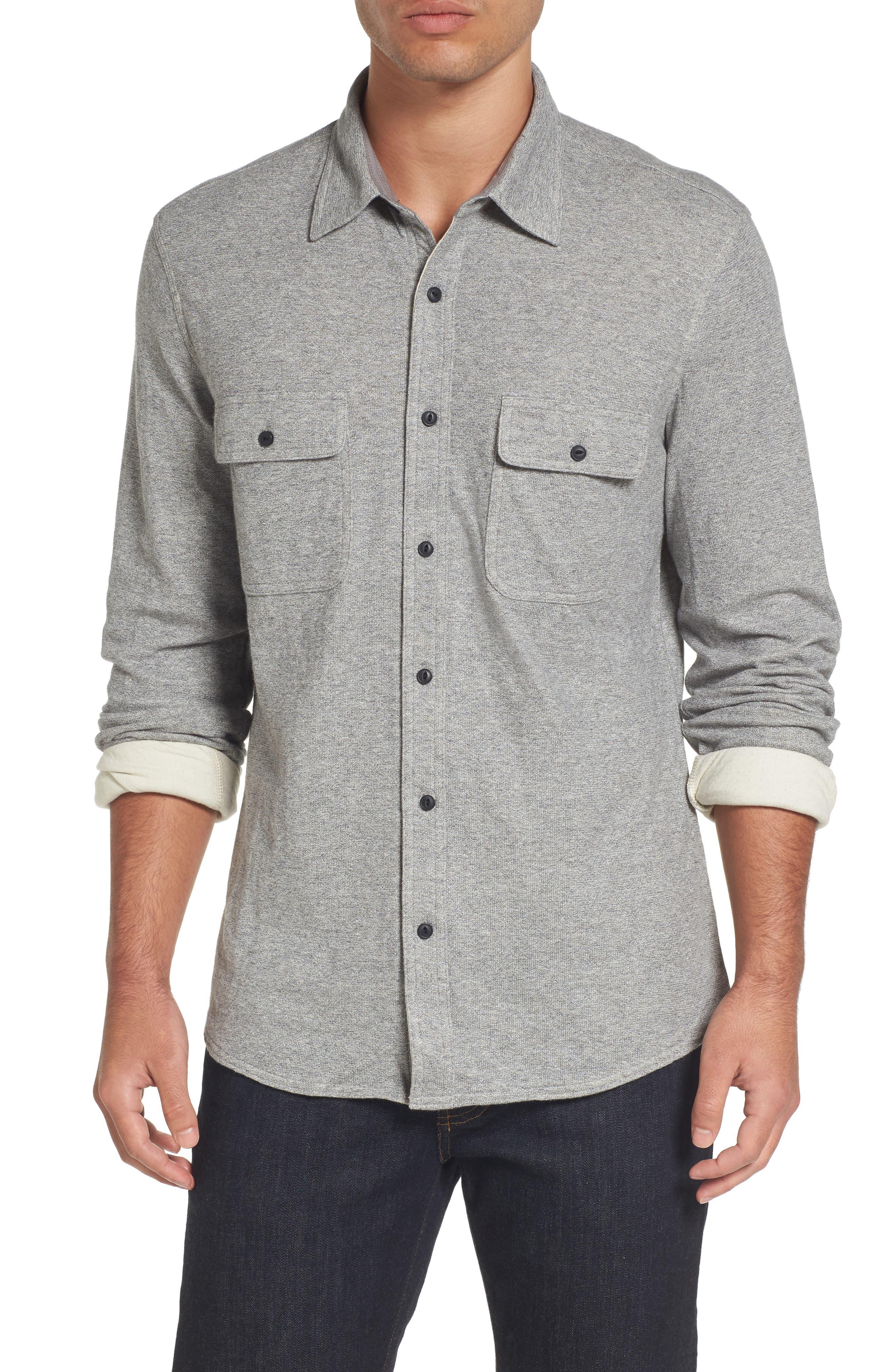 Trim Fit Knit Sport Shirt,                         Main,                         color, Grey Heather