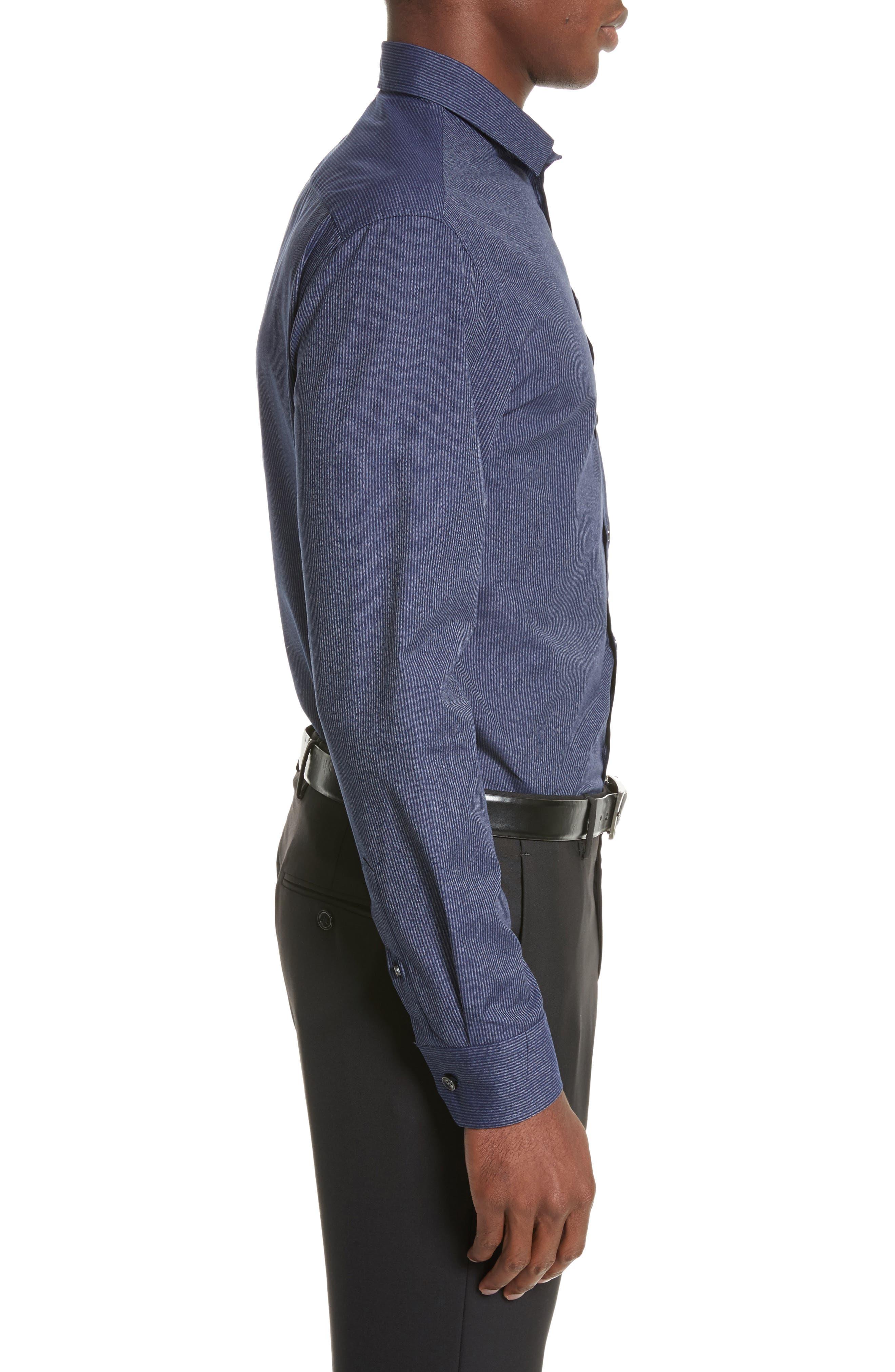Regular Fit Pinstripe Sport Shirt,                             Alternate thumbnail 4, color,                             Striped Blue