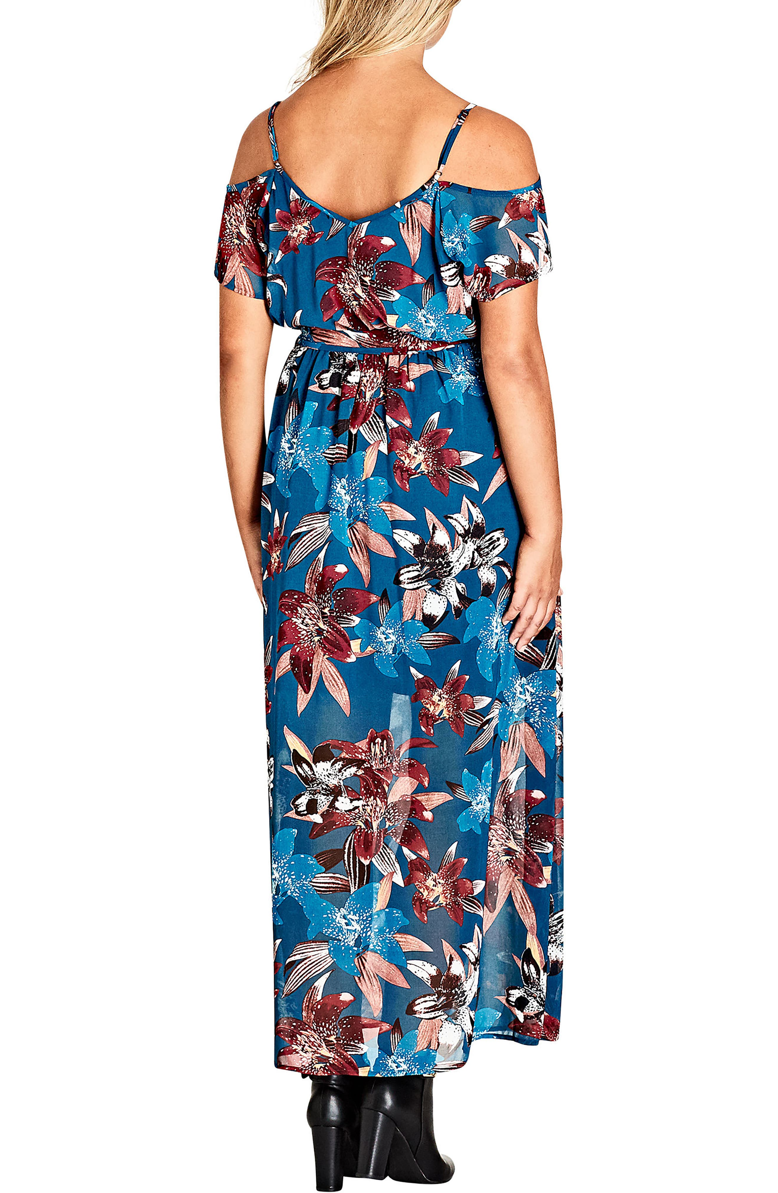 Fall Lily Off the Shoulder Maxi Dress,                             Alternate thumbnail 2, color,                             Fall Lily