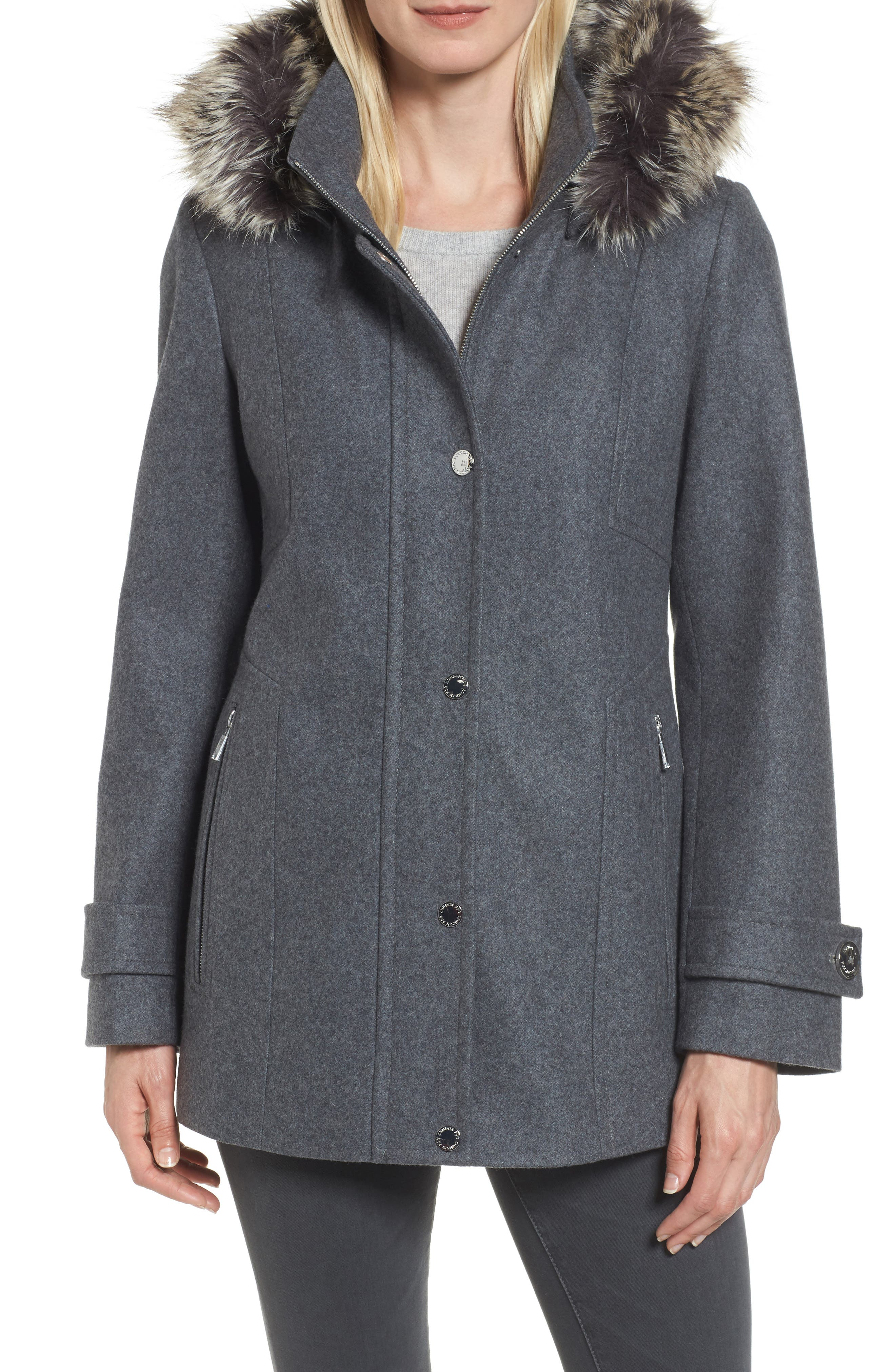 Peacoat with Faux Fur Trim,                         Main,                         color, Medium Grey