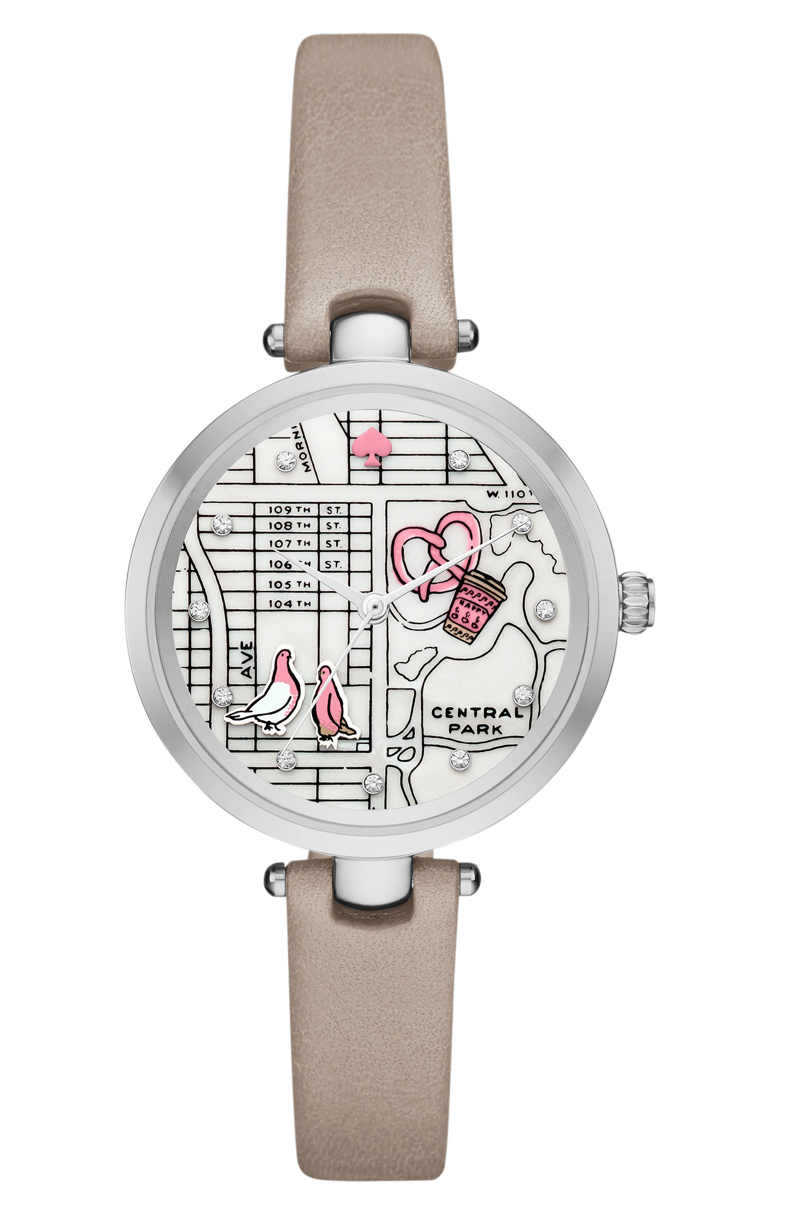 holland map leather strap watch, 34mm,                         Main,                         color, Grey/ Mop/ Silver