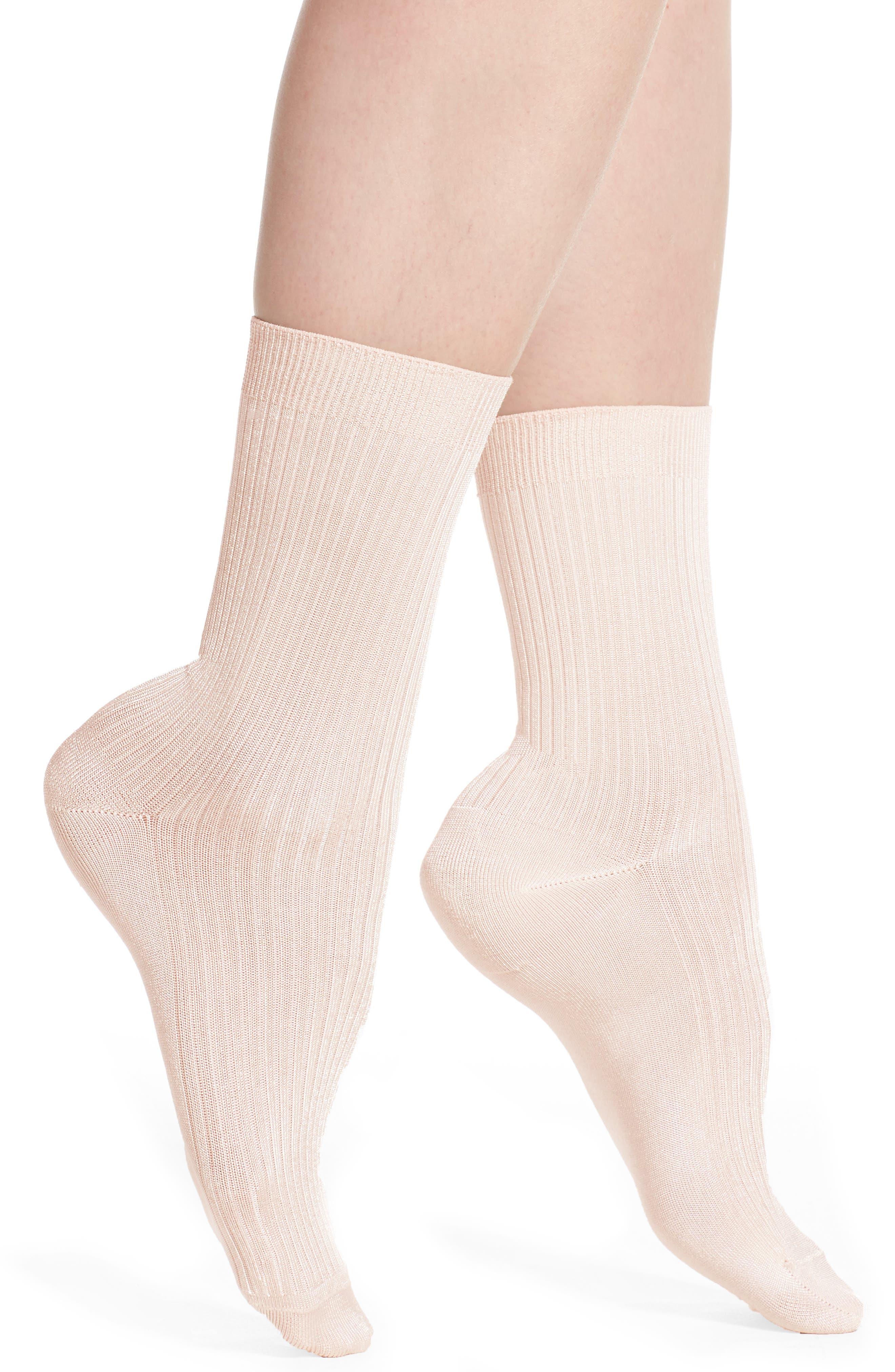 'Luster' Crew Socks,                         Main,                         color, Pink Peony Bud