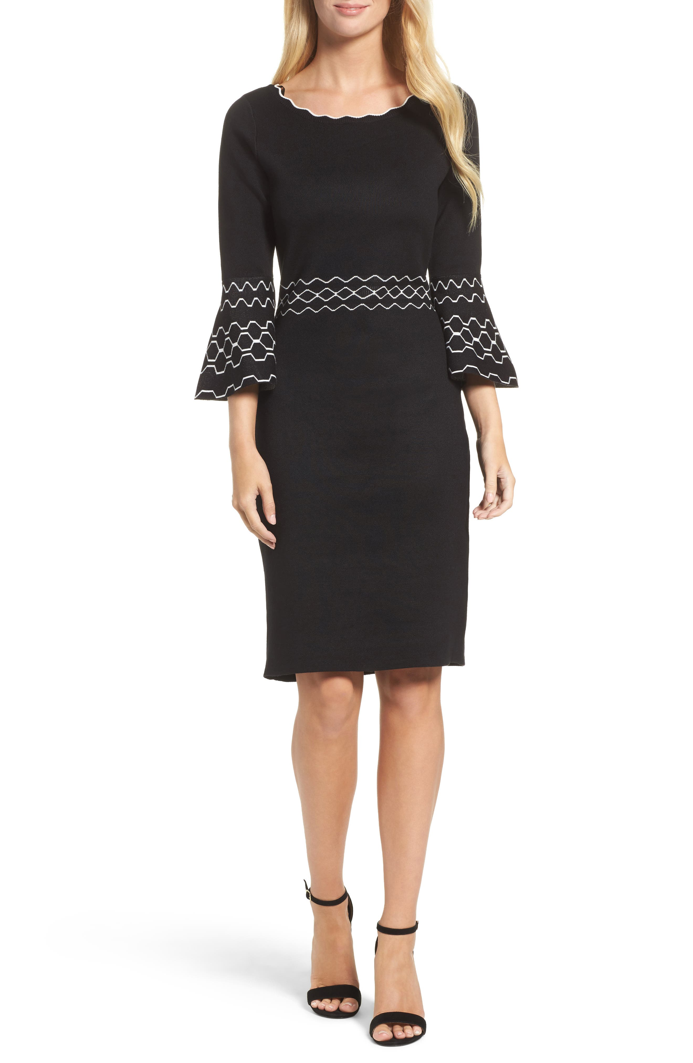 Gabby Skye Border Print Sheath Dress