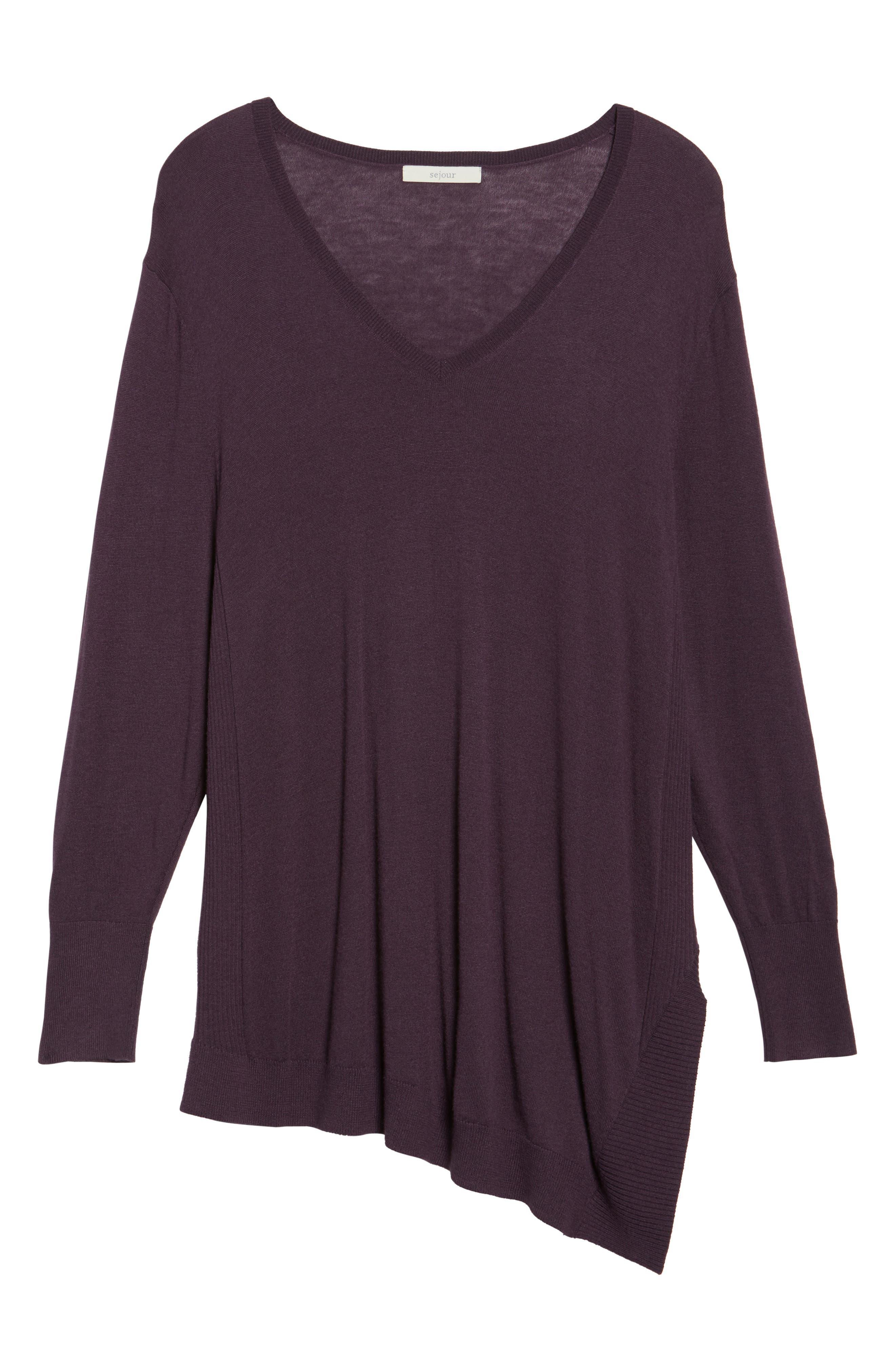 V-Neck Asymmetrical Tunic,                             Alternate thumbnail 6, color,                             Purple Plum