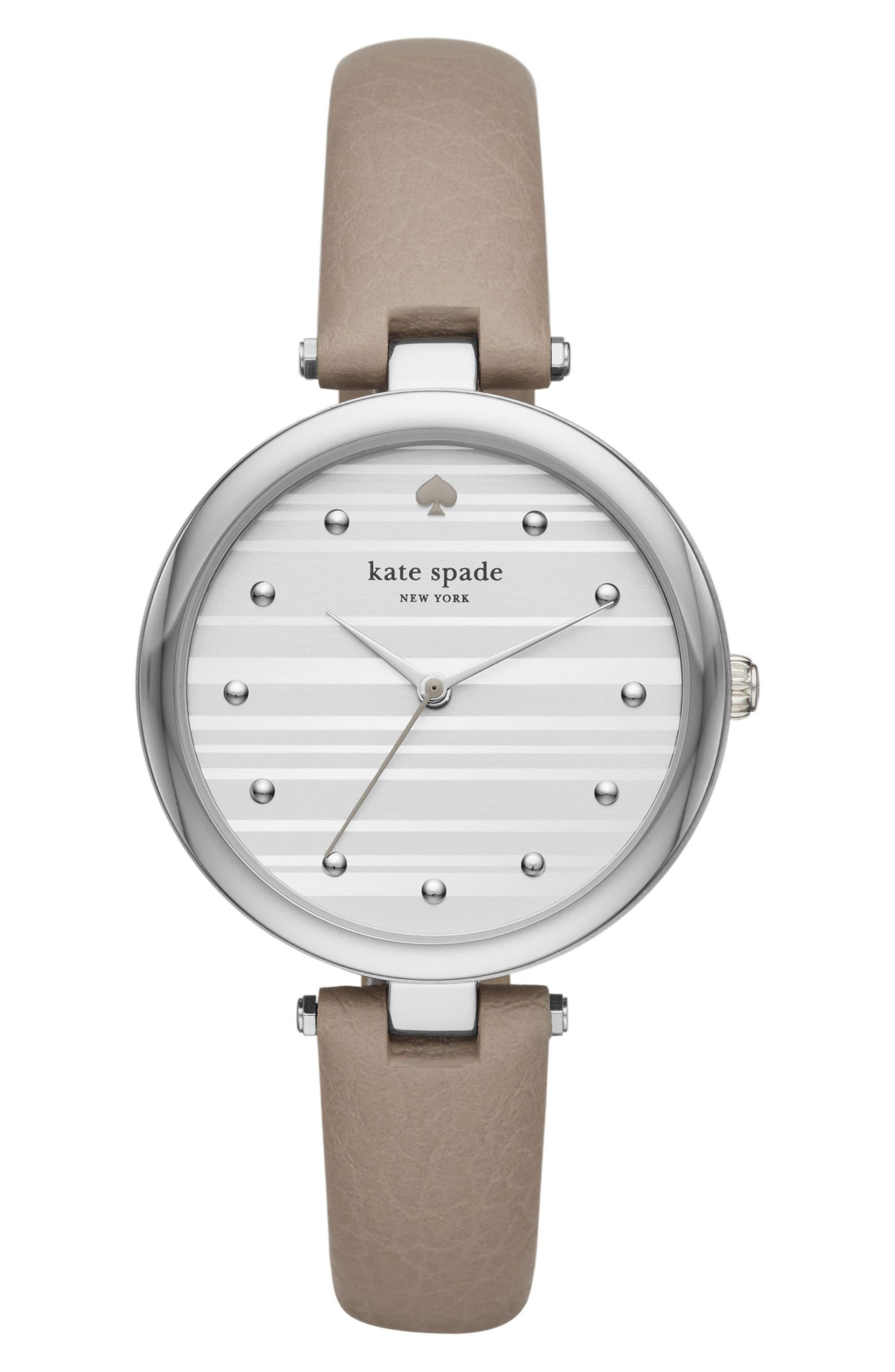 varick leather strap watch, 36mm,                         Main,                         color, Grey/ Silver