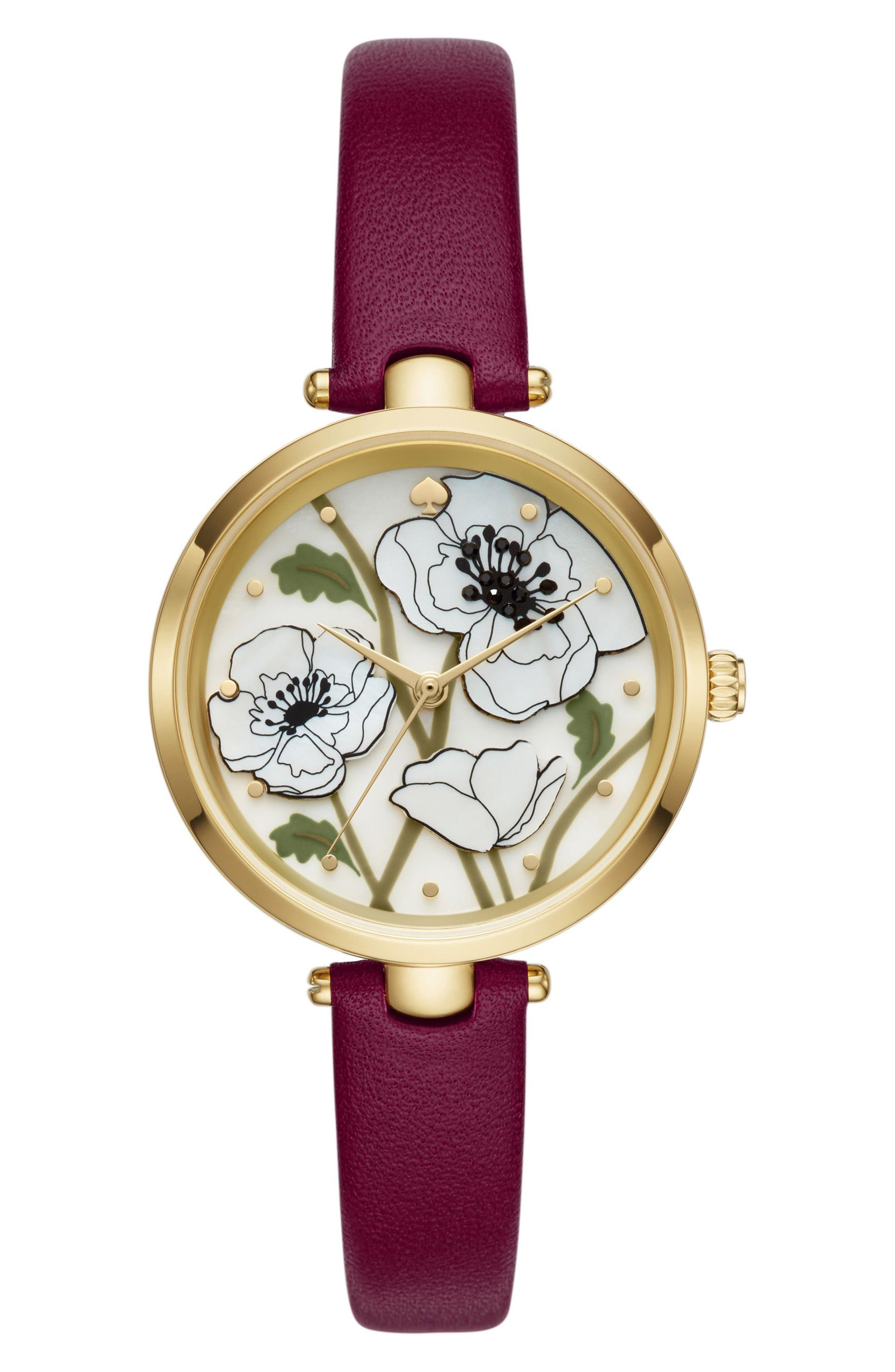 holland poppy leather strap watch, 34mm,                             Main thumbnail 1, color,                             Purple/ White/ Gold