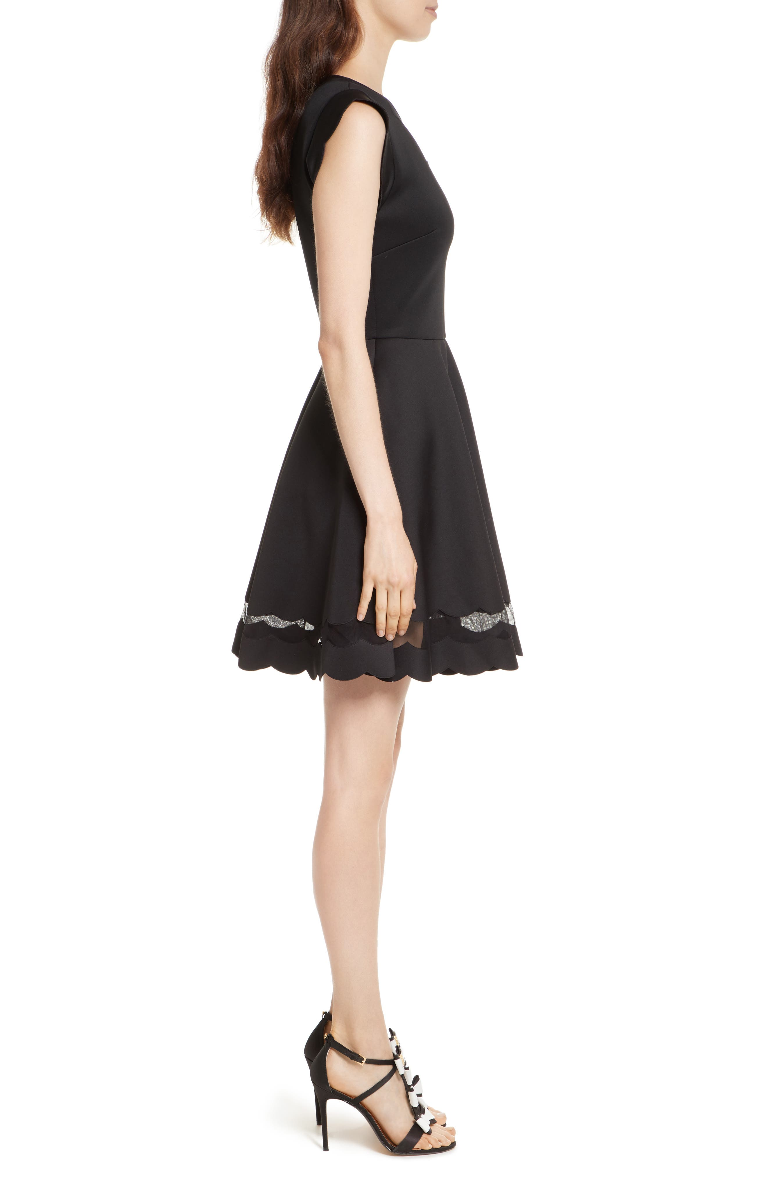 Mesh Panel Scallop Skater Dress,                             Alternate thumbnail 3, color,                             Black