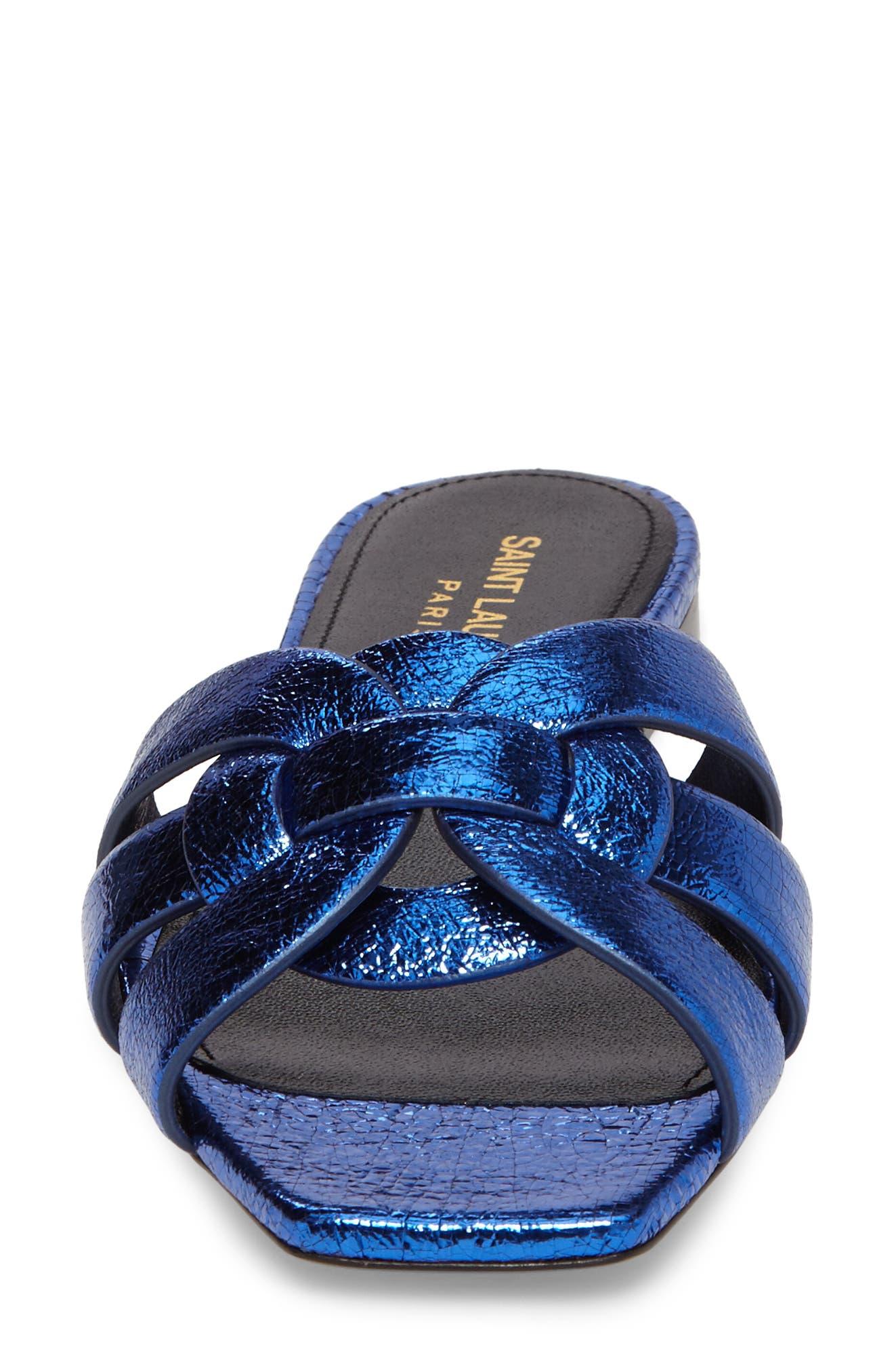 Pieds Metallic Slide Sandal,                             Alternate thumbnail 4, color,                             Blue Metal