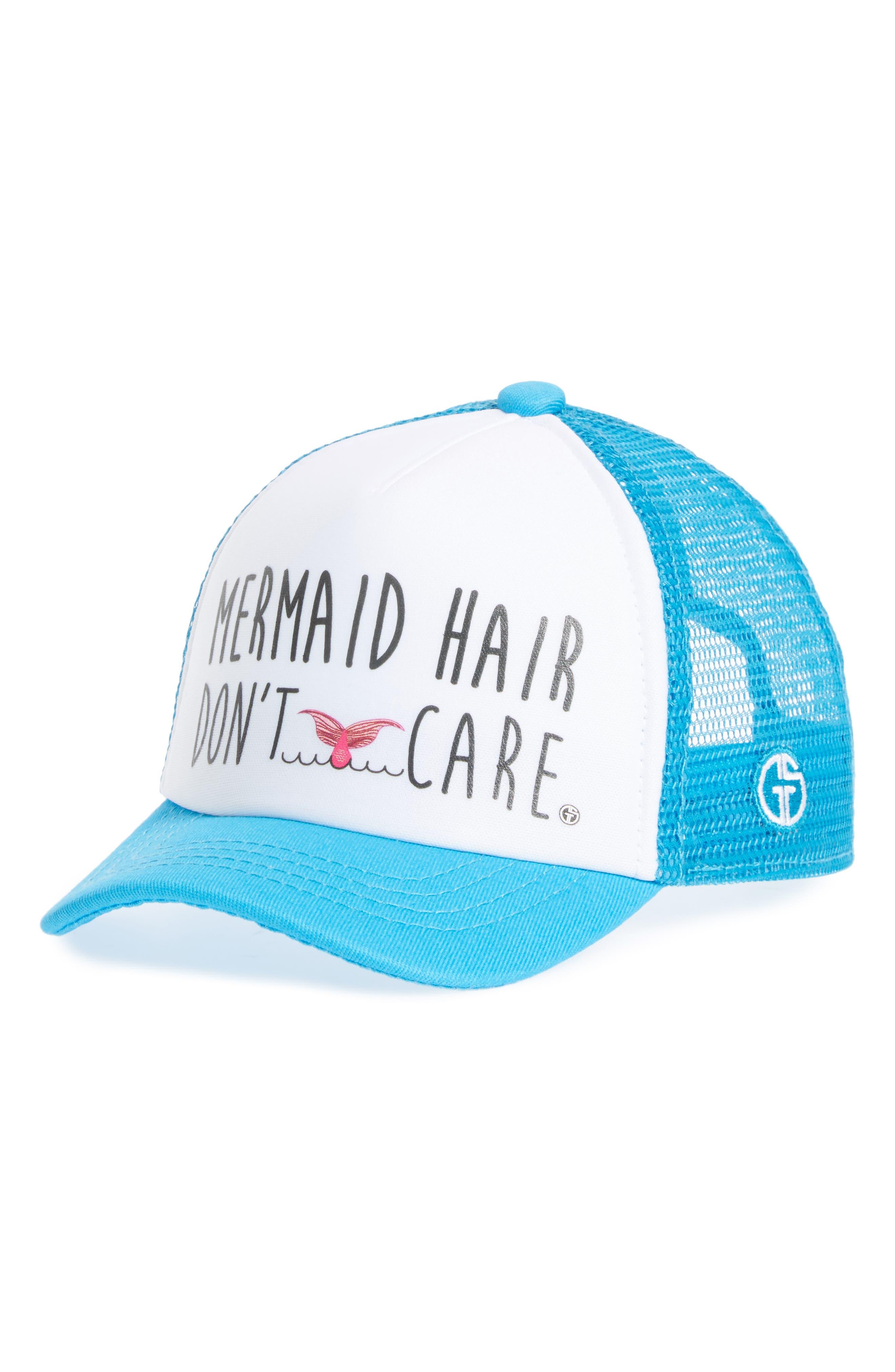 Trucker Hat,                             Main thumbnail 1, color,                             Aqua/ White Mermaid Hair
