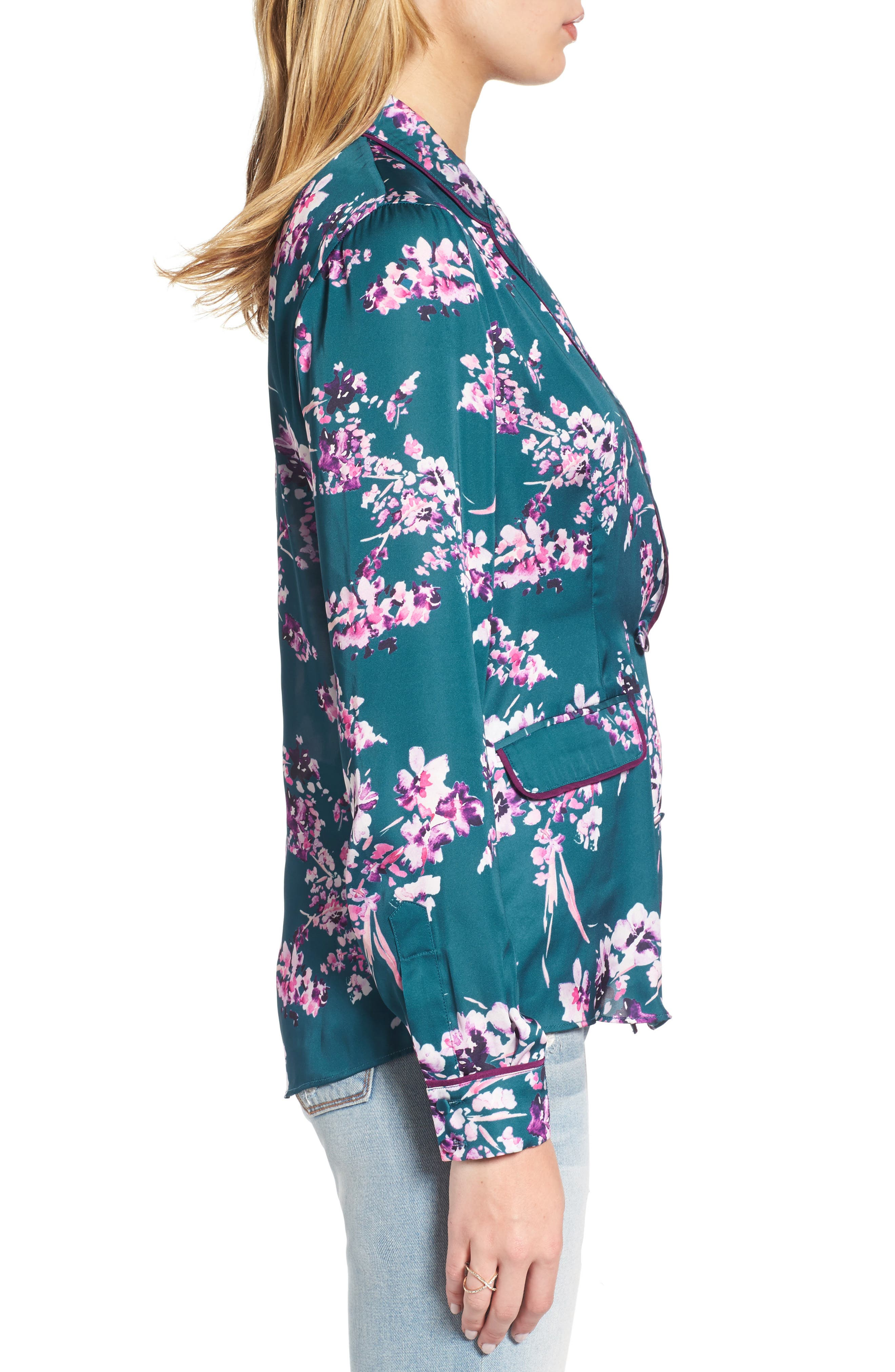 Bev Print Blouse,                             Alternate thumbnail 3, color,                             Moroccan Blossom