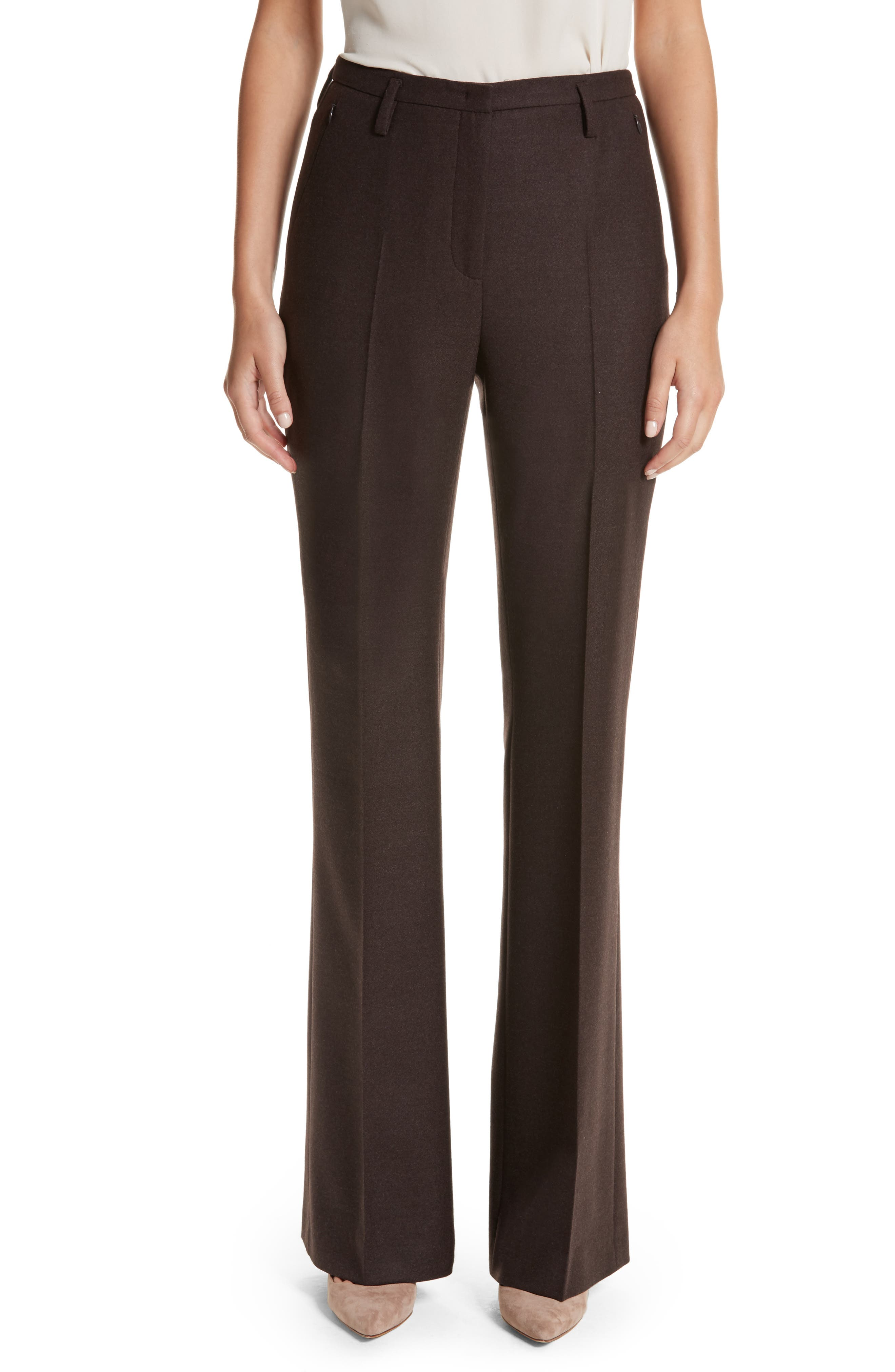 Akris Farrah Stretch Wool Flare Pants