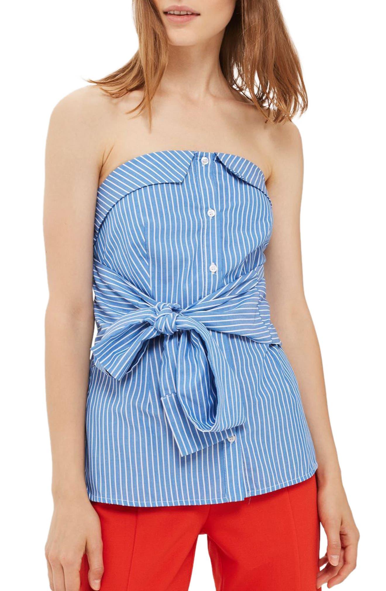 Topshop Tie Stripe Strapless Top (Petite)
