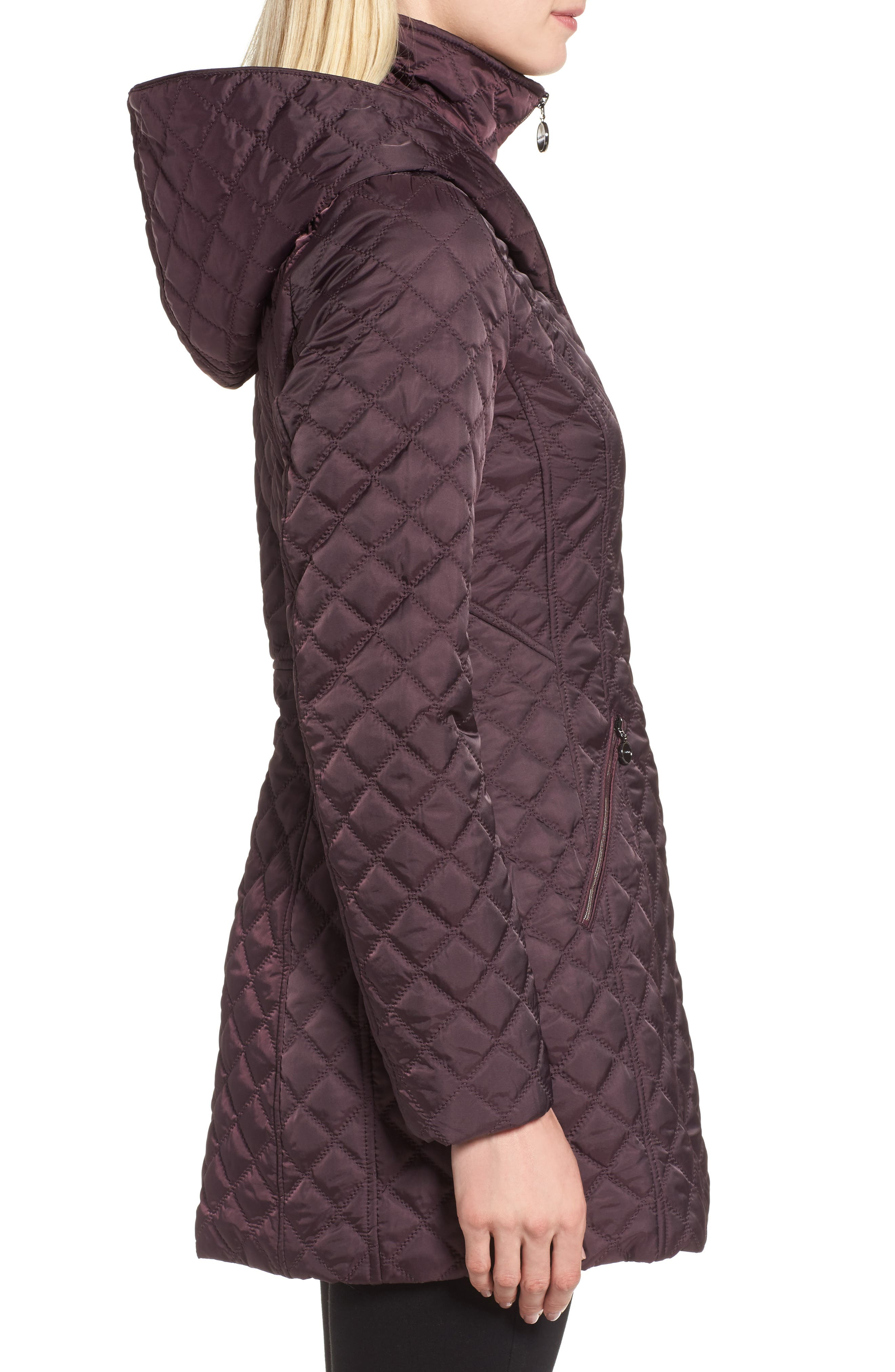 Hooded Quilted Jacket,                             Alternate thumbnail 4, color,                             Claret