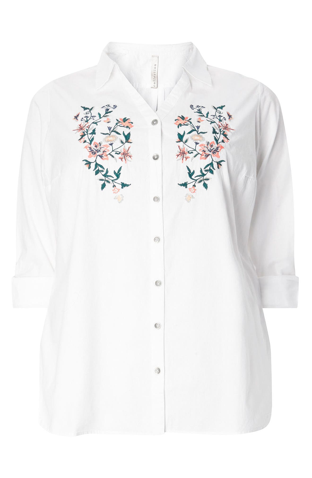 Evans Floral Embroidered Poplin Shirt (Plus Size)