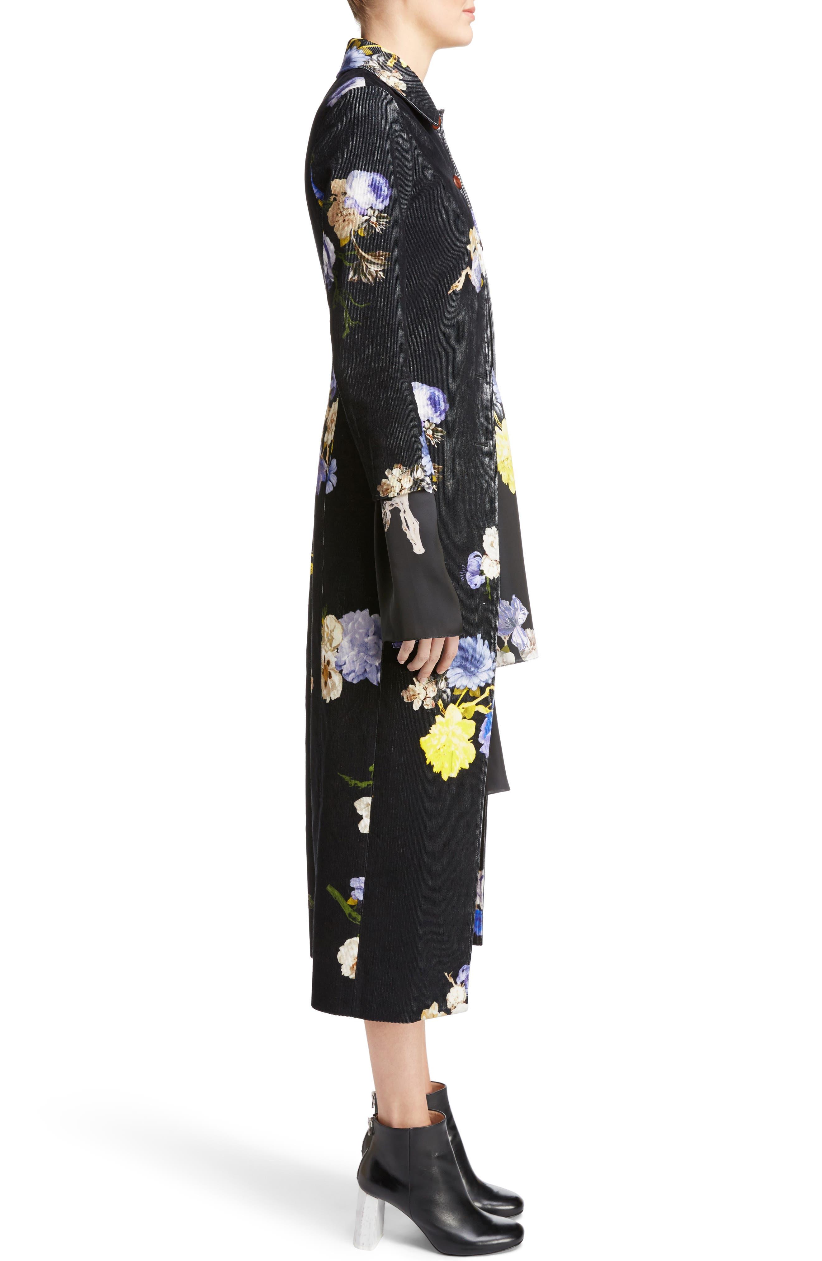 Okki Floral Print Bracelet Sleeve Coat,                             Alternate thumbnail 3, color,                             Big Flower Black
