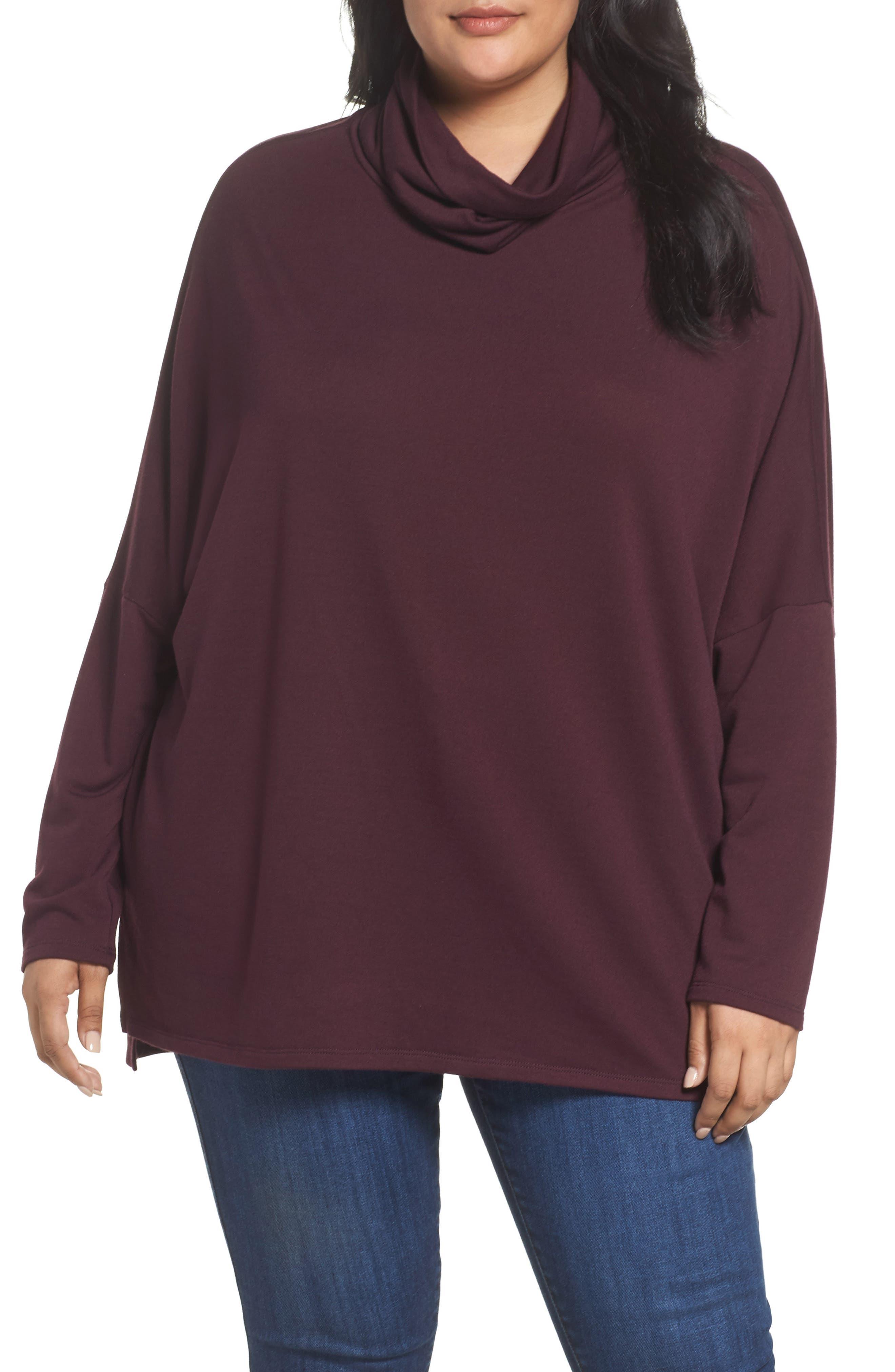 Caslon® Cowl Neck Tunic (Plus Size)