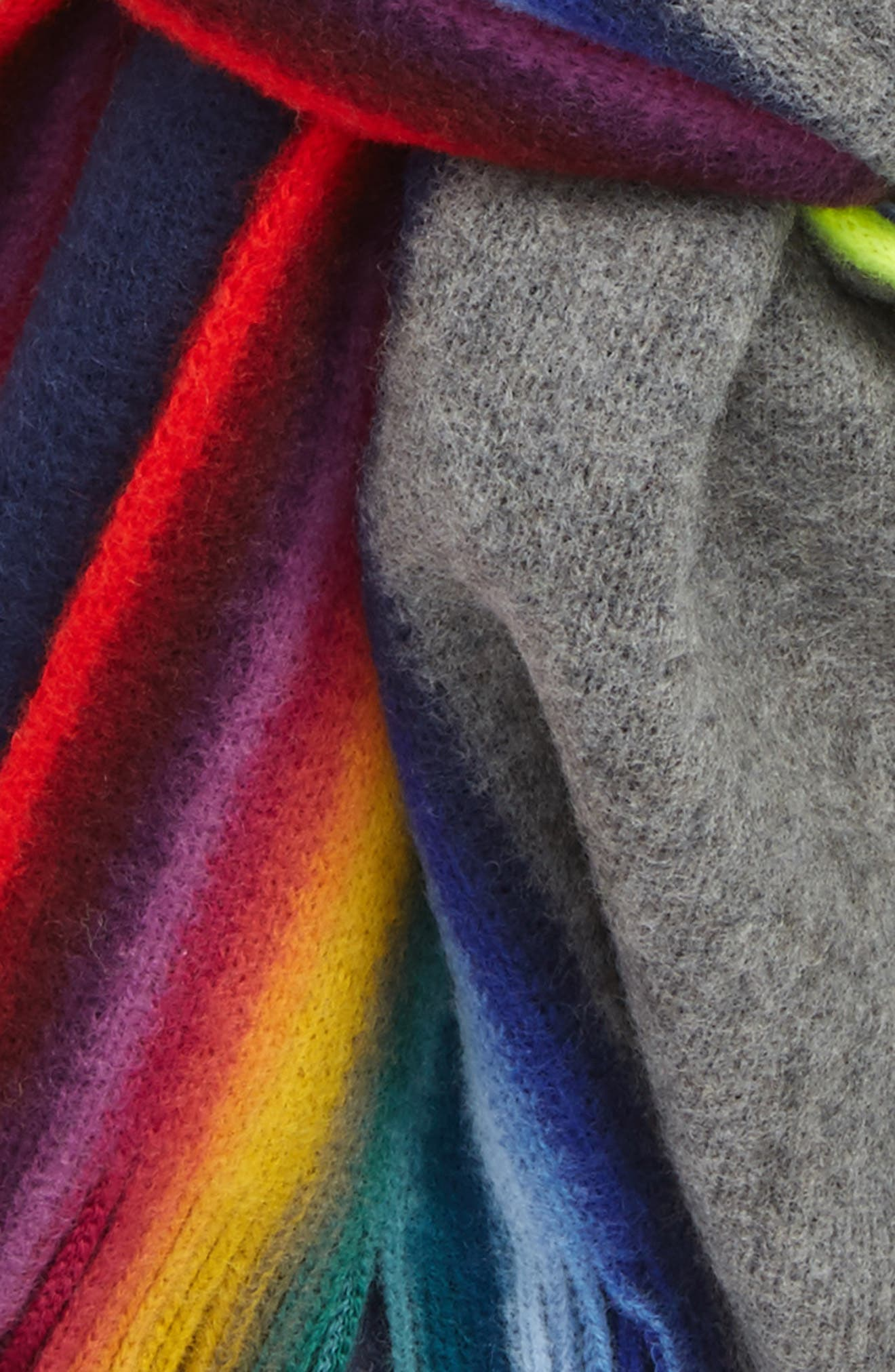 Rainbow Edge Wool Scarf,                             Alternate thumbnail 3, color,                             Grey