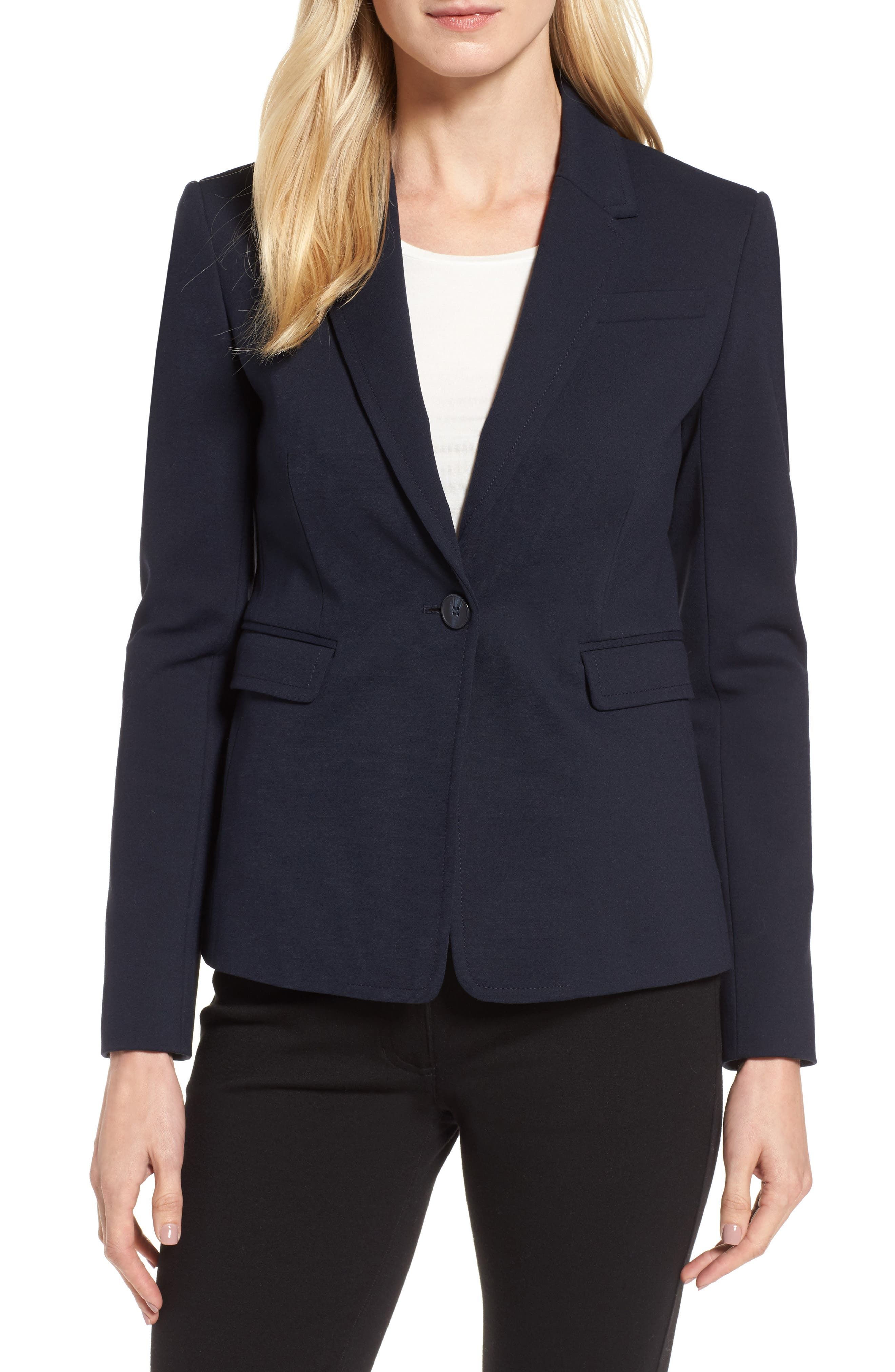Alternate Image 1 Selected - Nordstrom Signature One-Button Crop Blazer