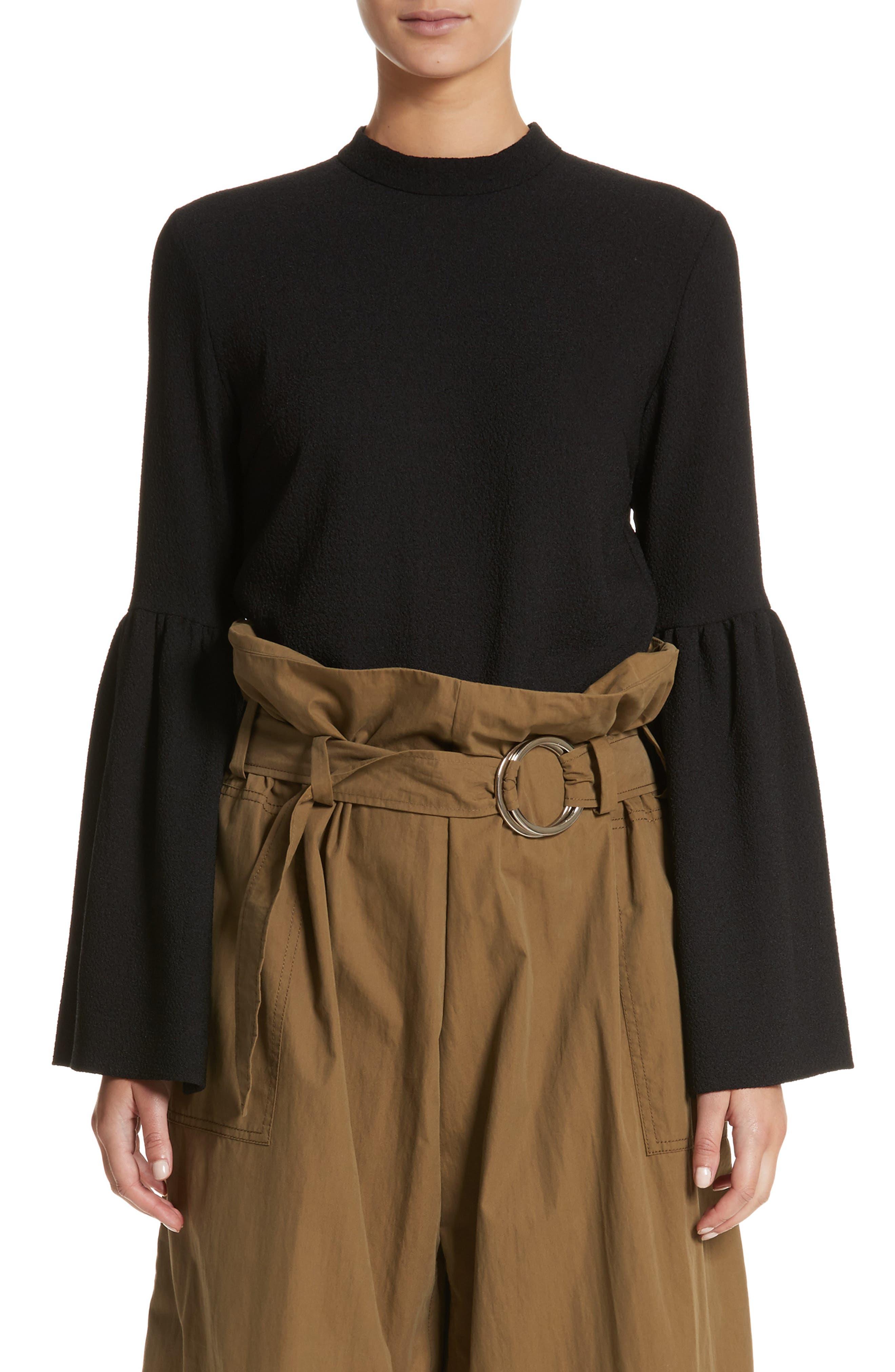 Marta Bell Sleeve Crepe Blouse,                         Main,                         color, Black