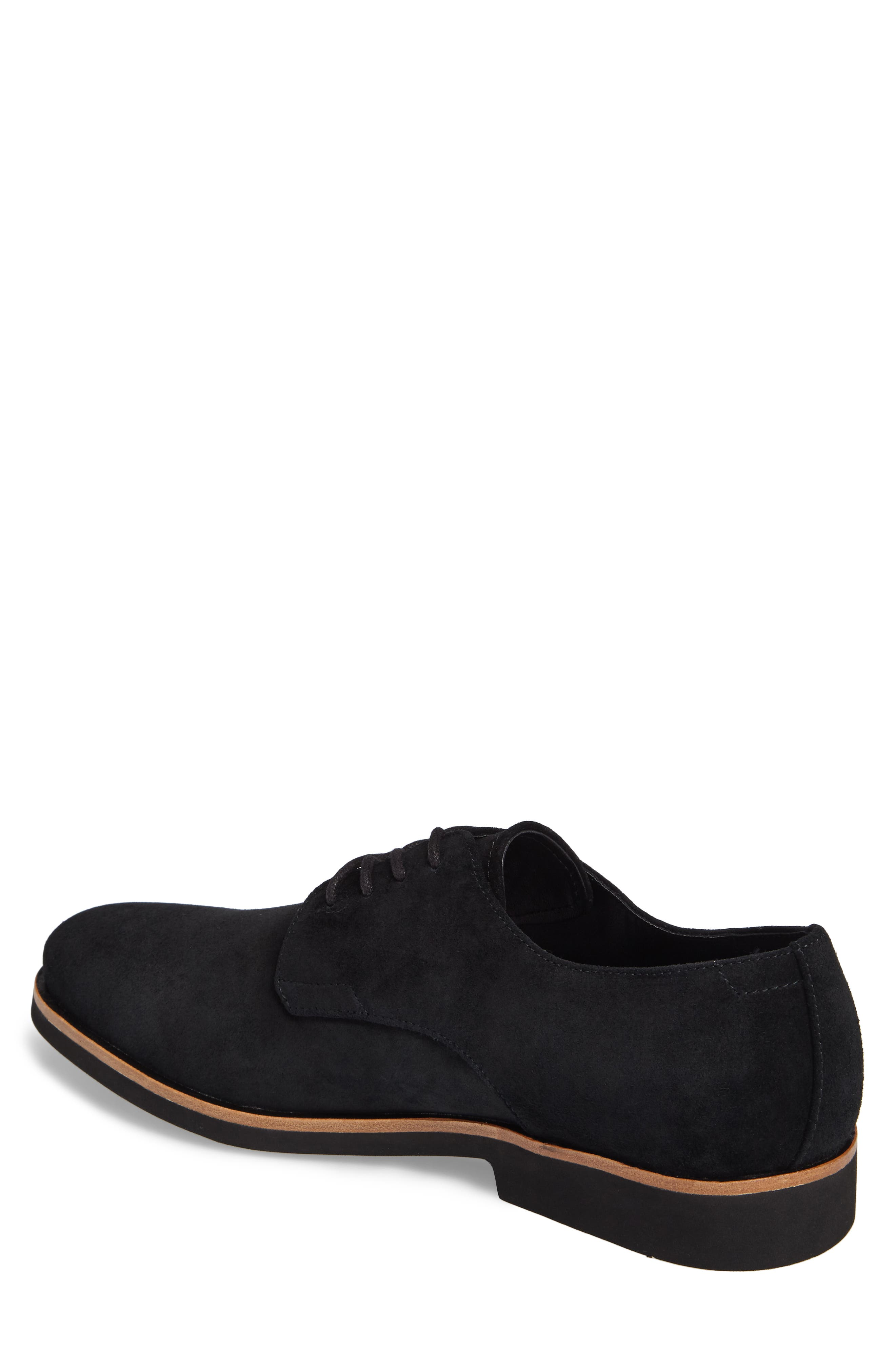 Faustino Plain Toe Derby,                             Alternate thumbnail 2, color,                             Black Suede