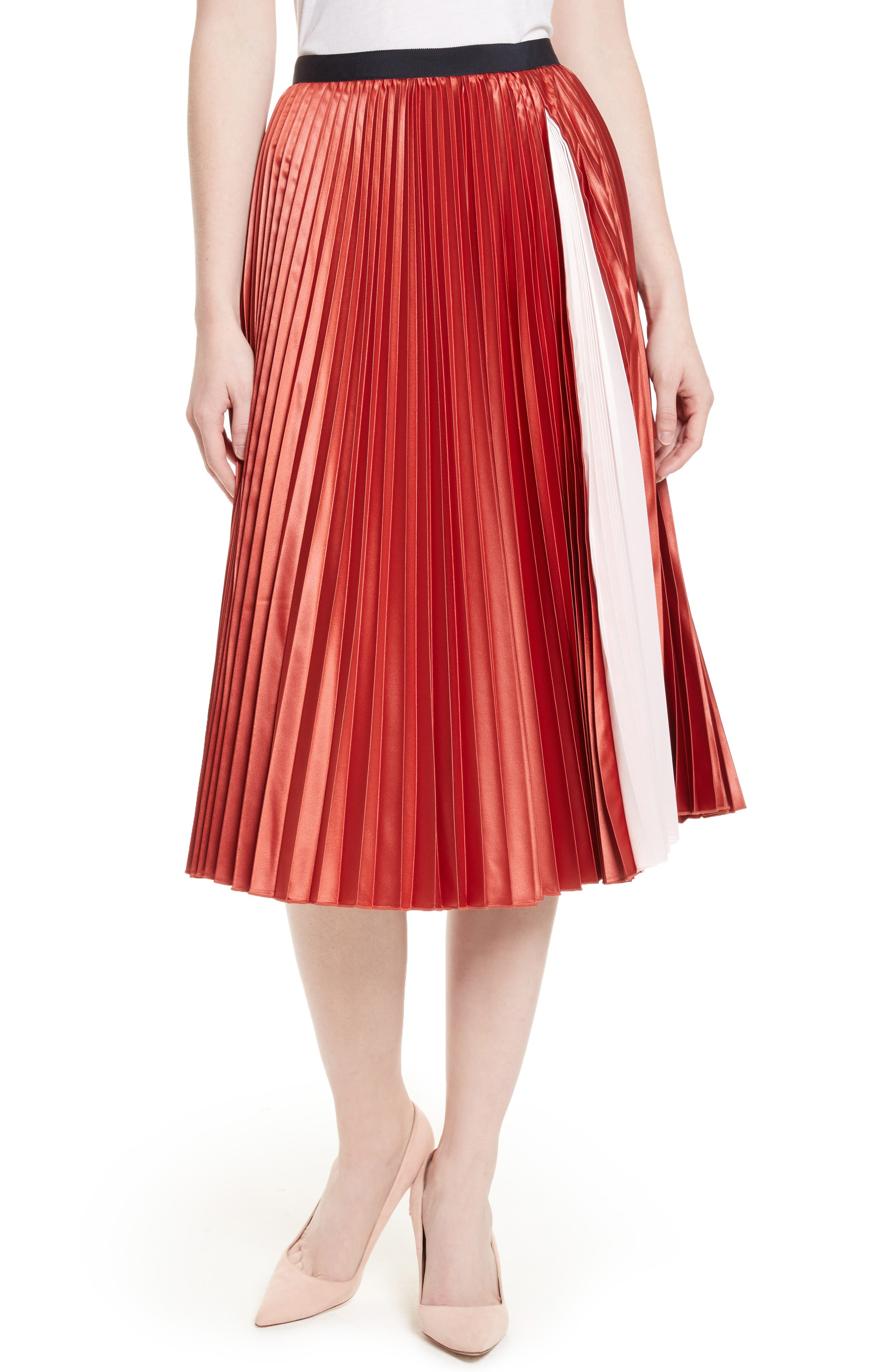 Alternate Image 1 Selected - Ted Baker London Osla Colorblock Pleated Midi Skirt