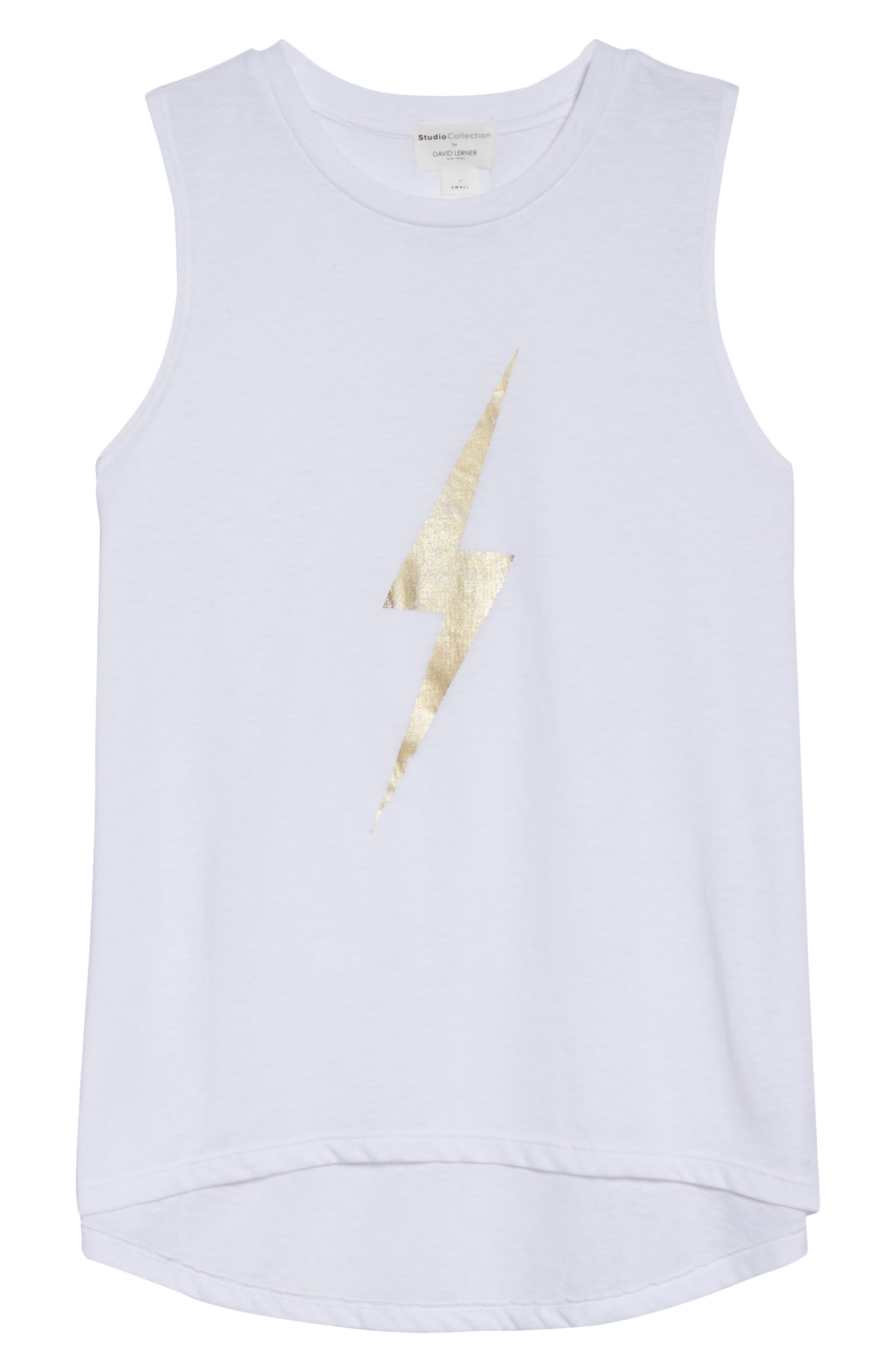 High/Low Muscle Tank,                             Alternate thumbnail 4, color,                             White