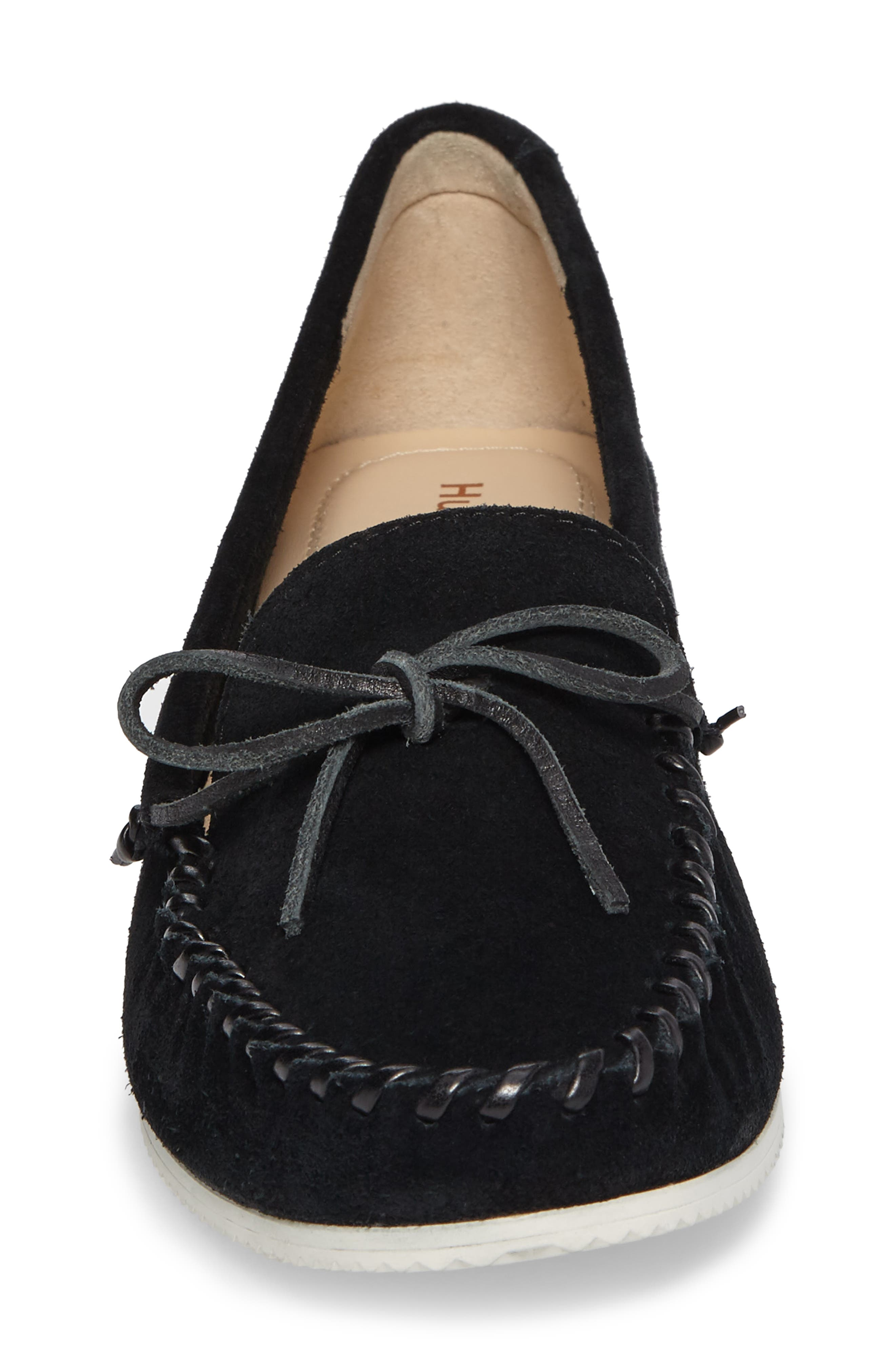 Larghetto Carine Concealed Wedge Moccasin,                             Alternate thumbnail 4, color,                             Black Suede