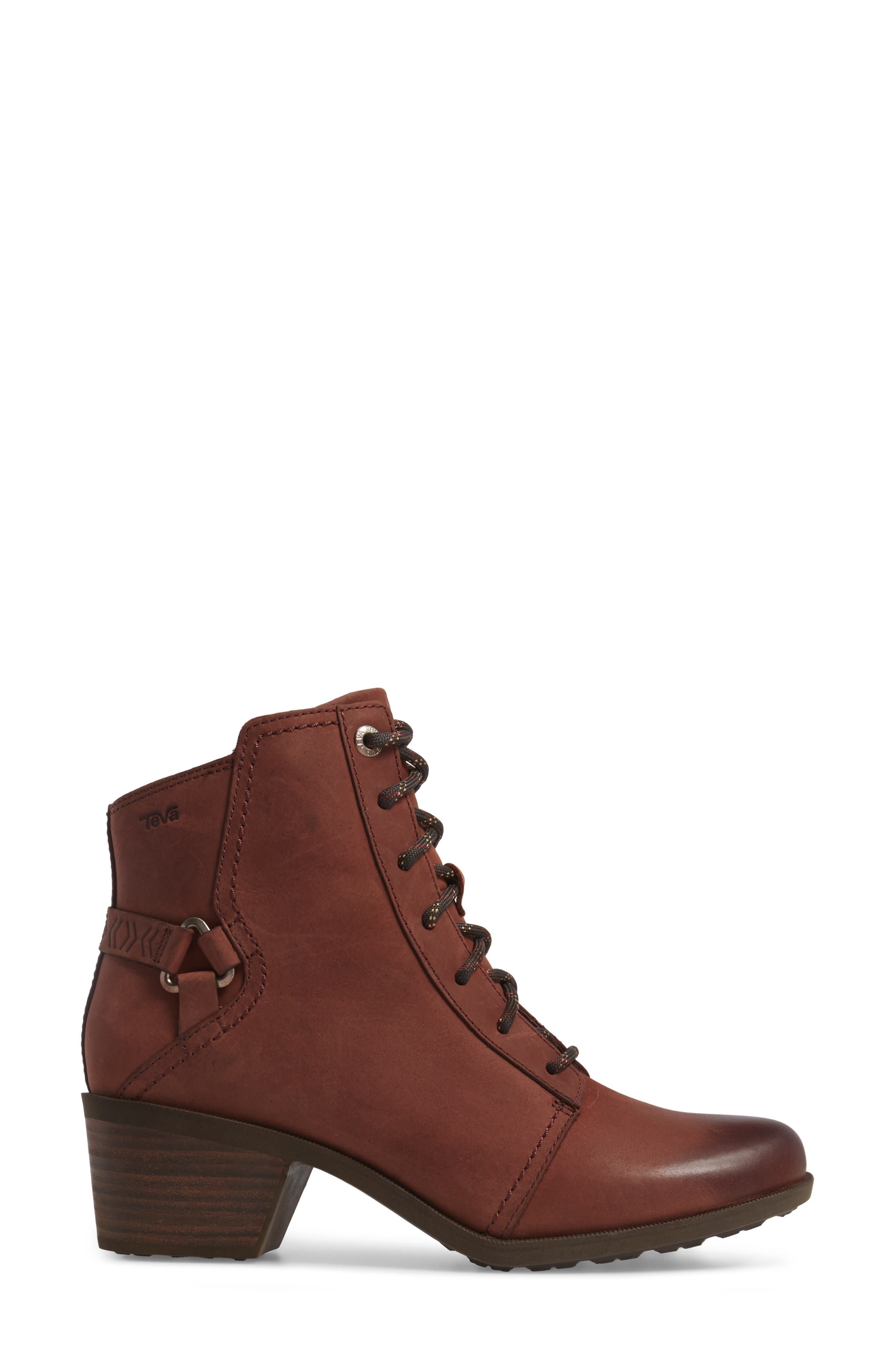 Foxy Lace-Up Waterproof Boot,                             Alternate thumbnail 3, color,                             Redwood Leather