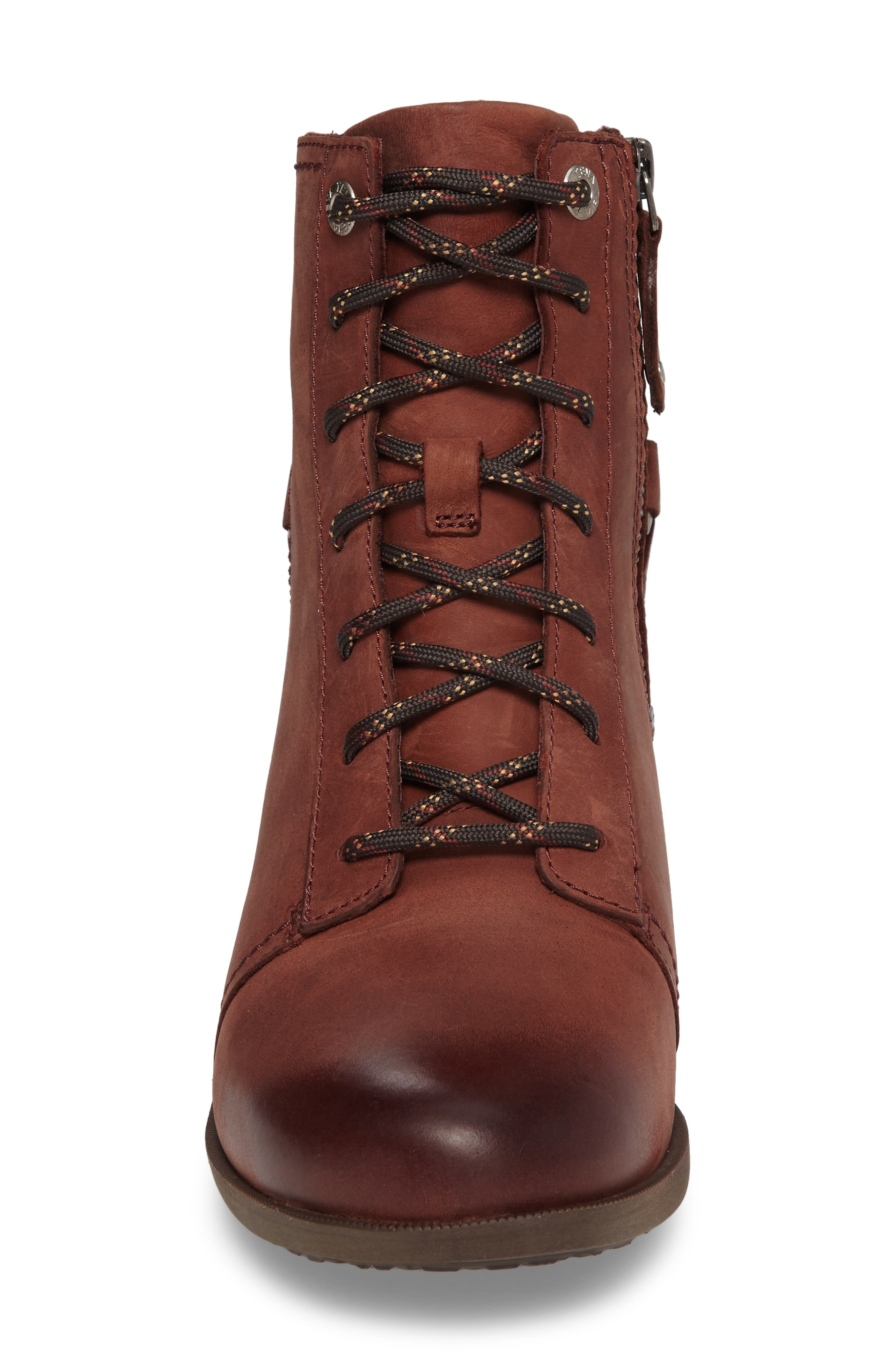 Foxy Lace-Up Waterproof Boot,                             Alternate thumbnail 4, color,                             Redwood Leather