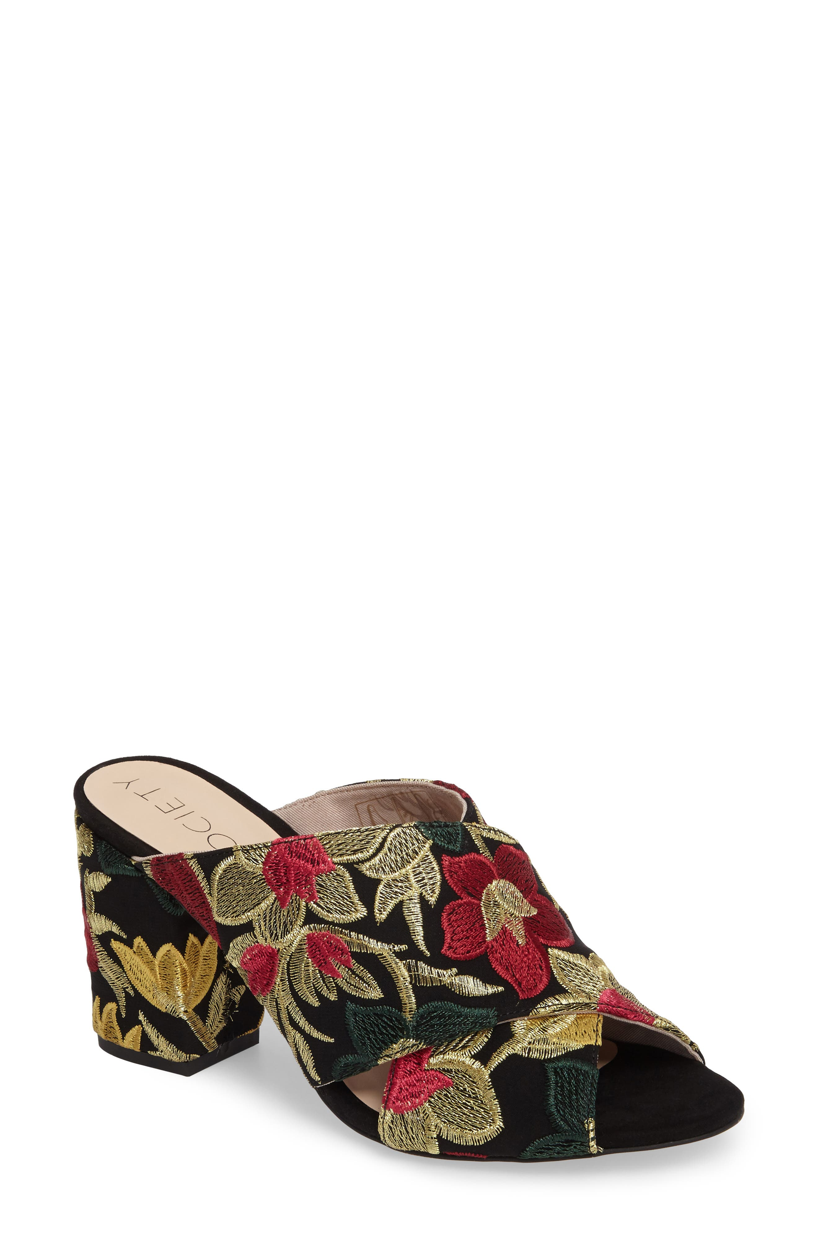 Luella Flower Embroidered Slide,                         Main,                         color, Gold Embroidery Textile