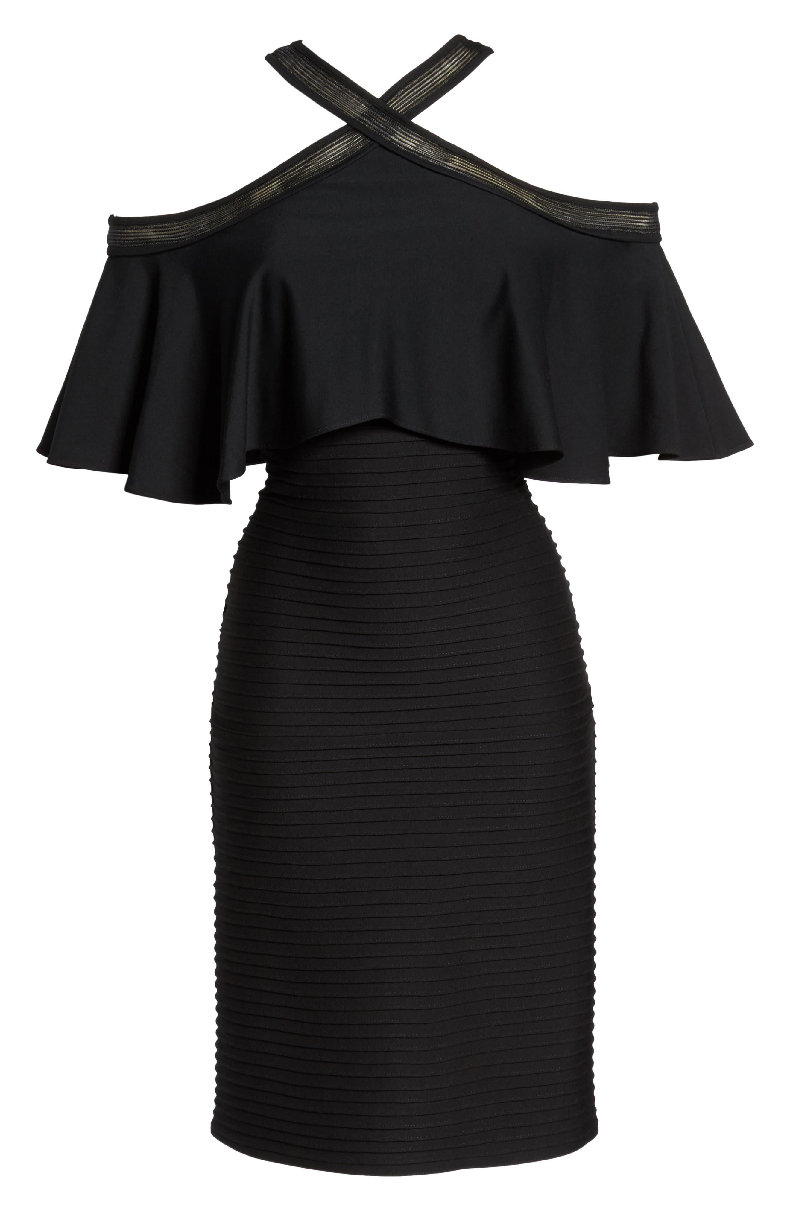 Pintuck Cold Shoulder Dress,                             Alternate thumbnail 6, color,                             Black