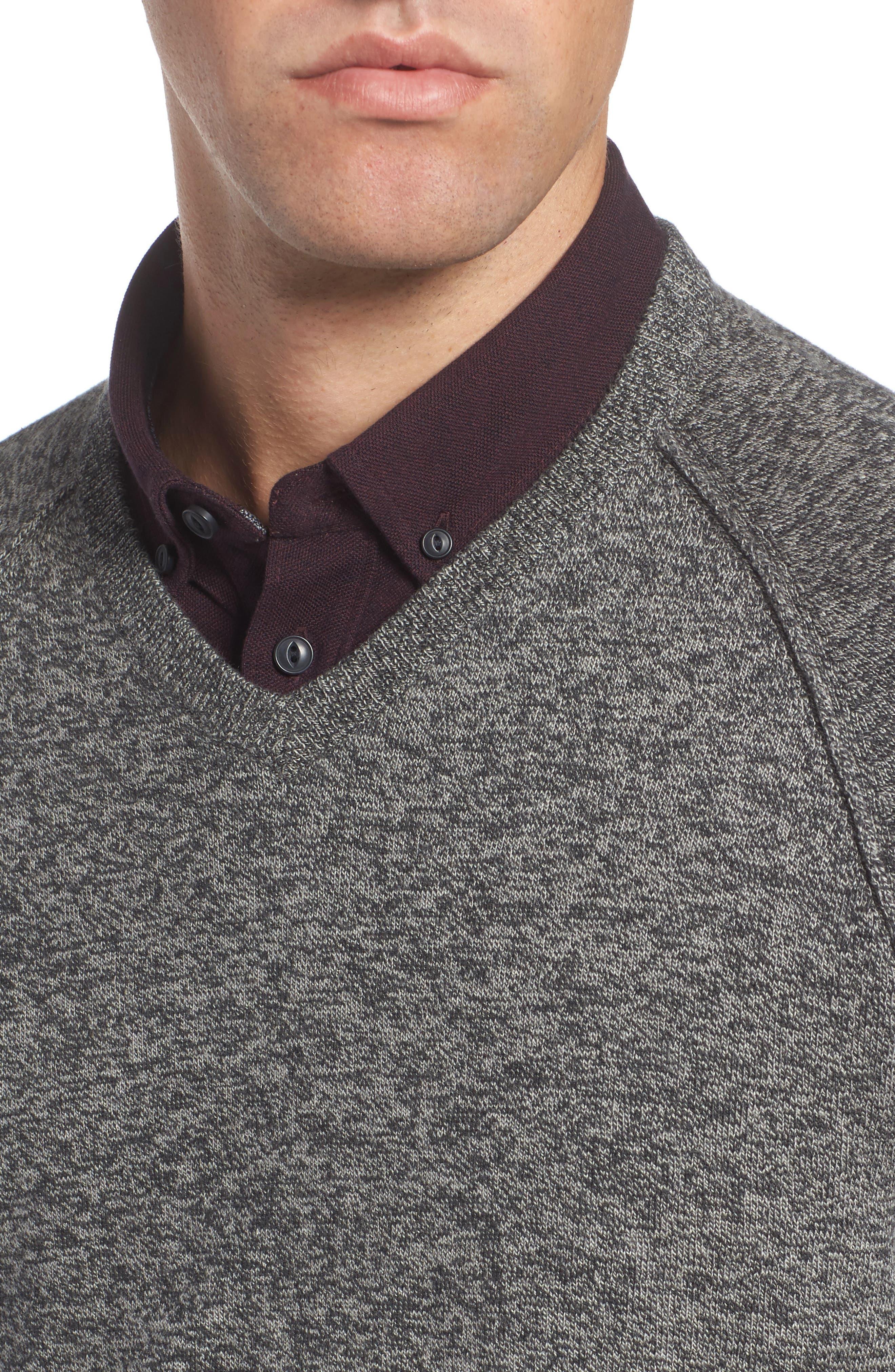 Alternate Image 4  - Nordstrom Men's Shop Saddle Shoulder Cotton & Cashmere V-Neck Sweater