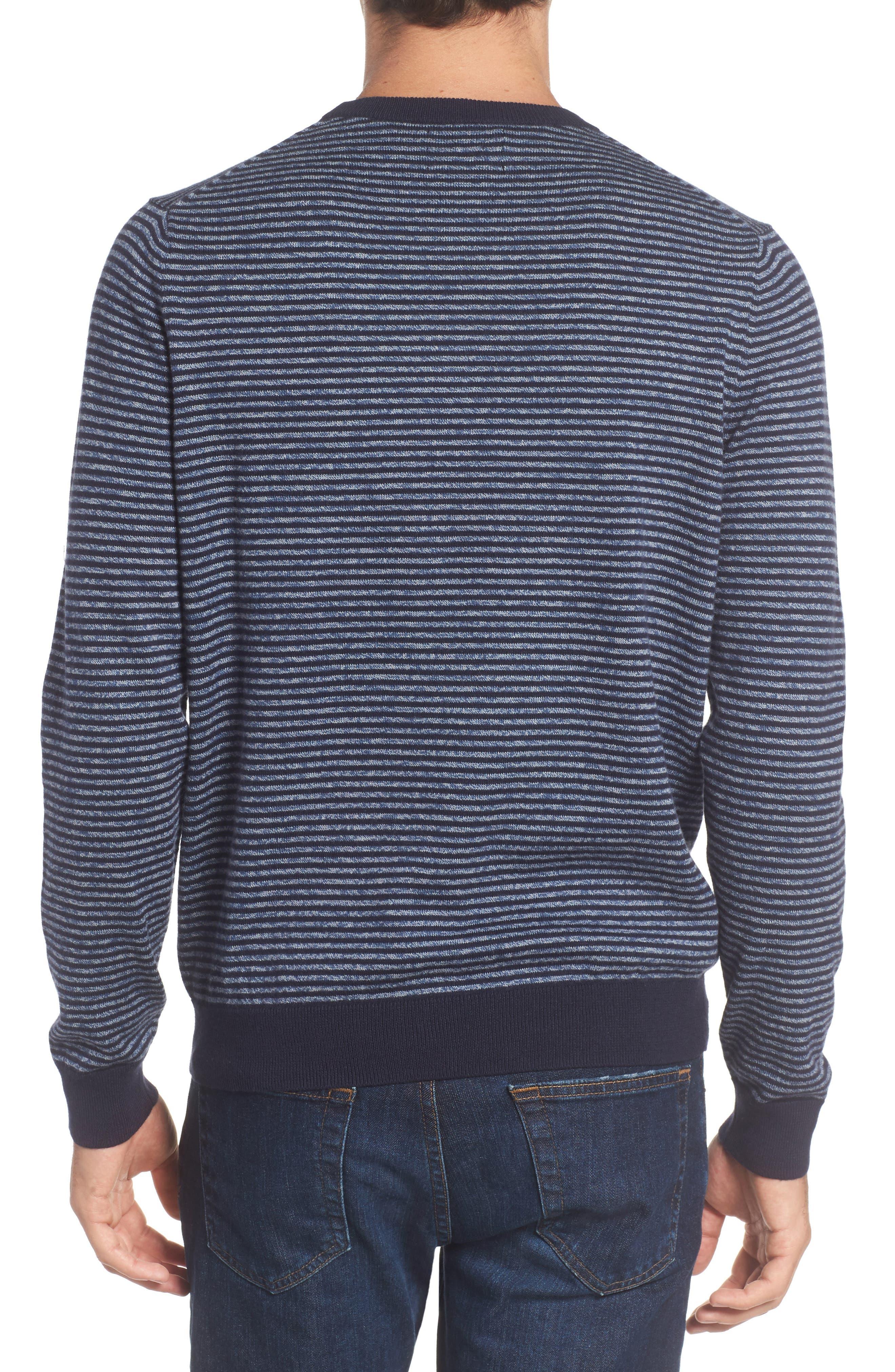 Stripe Cotton & Cashmere Crewneck Sweater,                             Alternate thumbnail 2, color,                             Navy Iris Jaspe Stripe