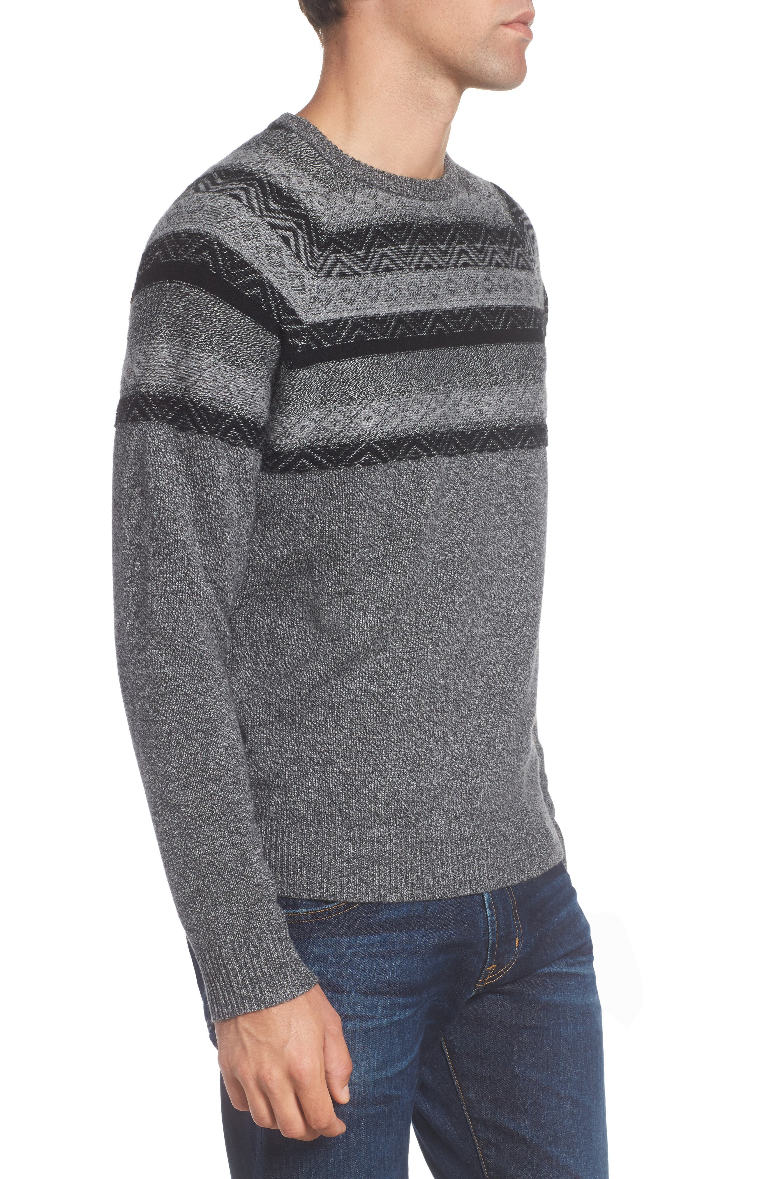 Pattern Wool & Cashmere Sweater,                             Alternate thumbnail 3, color,                             Grey Phantom