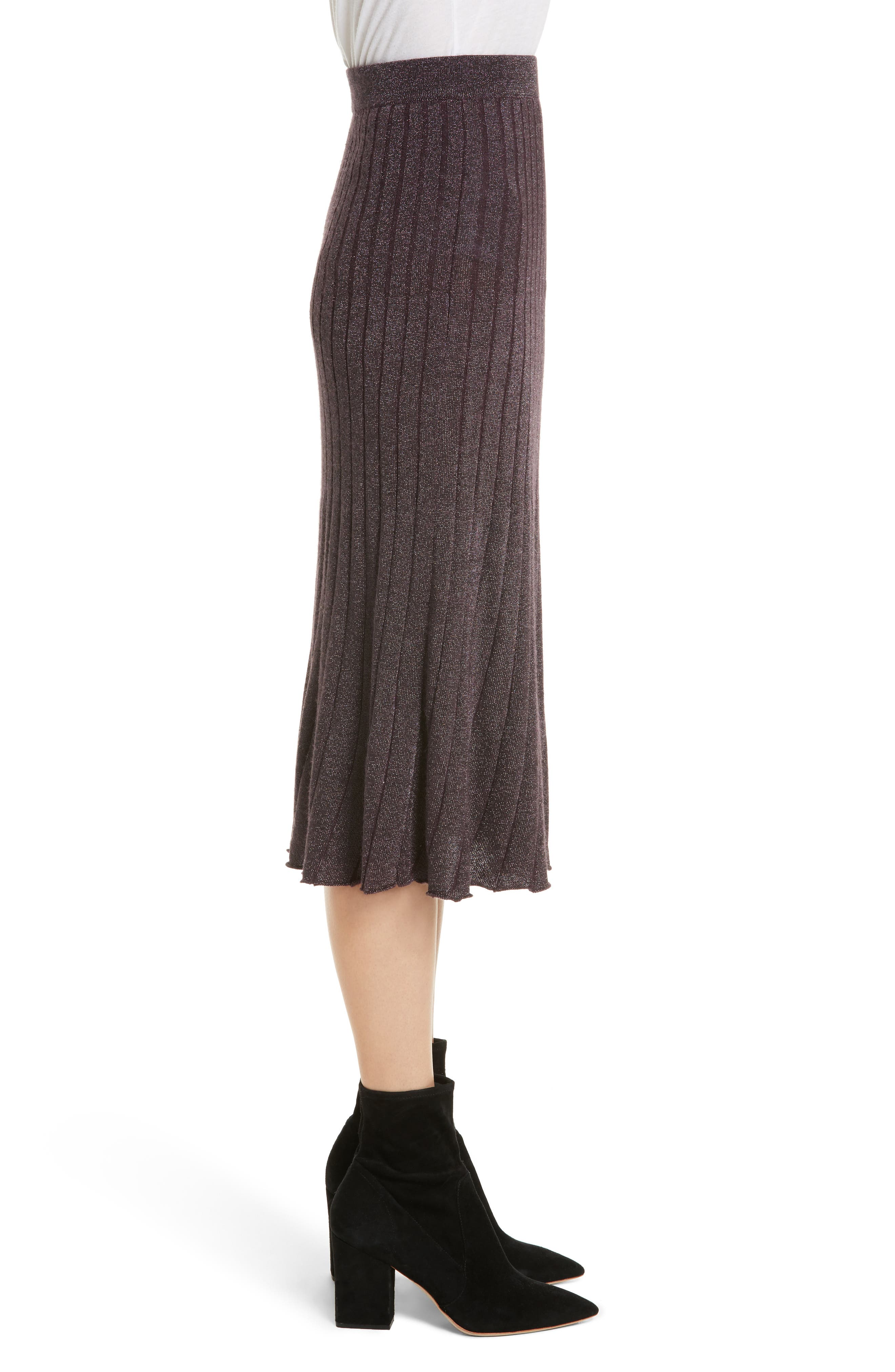 Metallic Ribbed Knit Skirt,                             Alternate thumbnail 3, color,                             Merlot